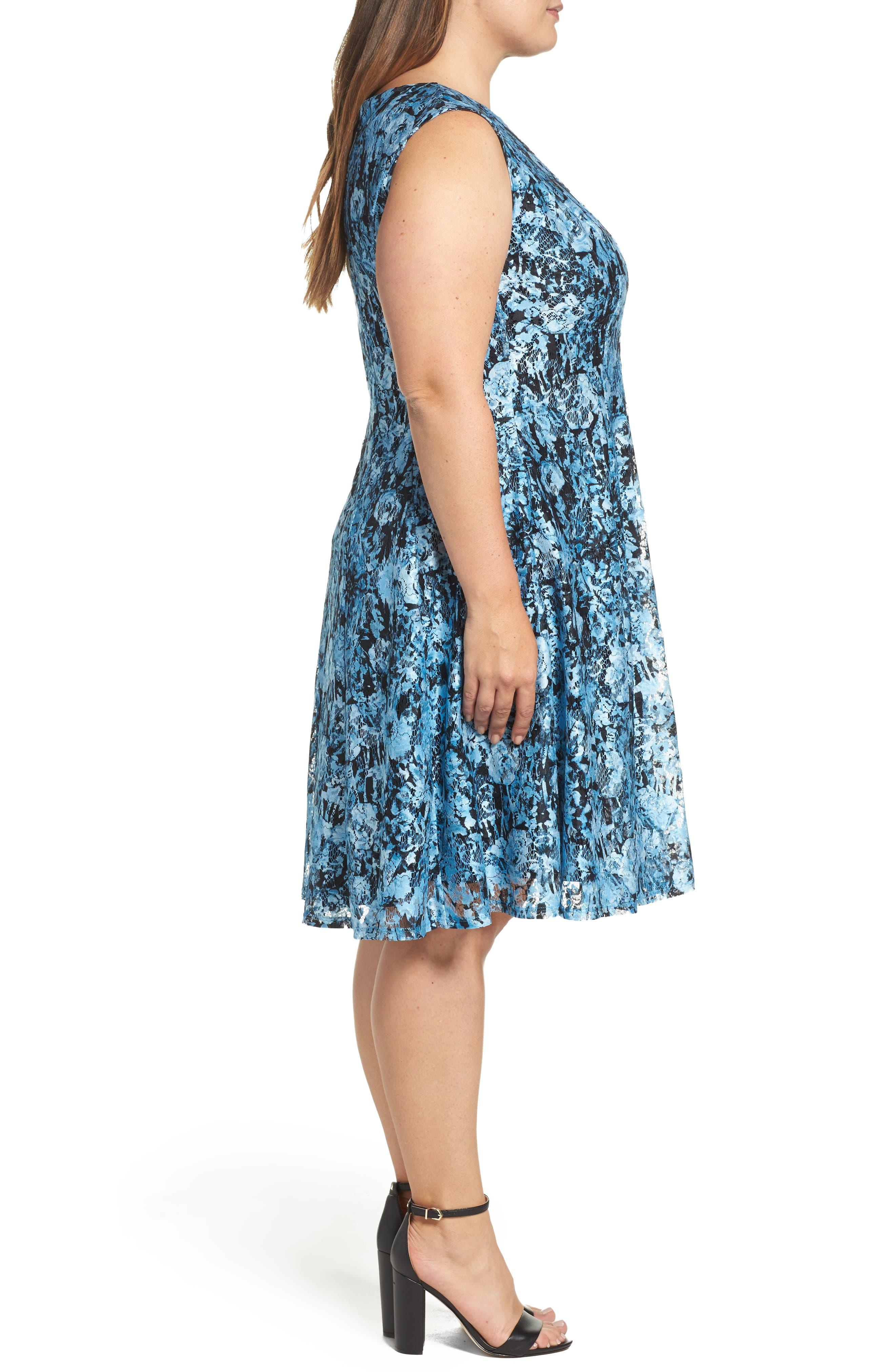 Print Lace Fit & Flare Dress,                             Alternate thumbnail 3, color,                             400