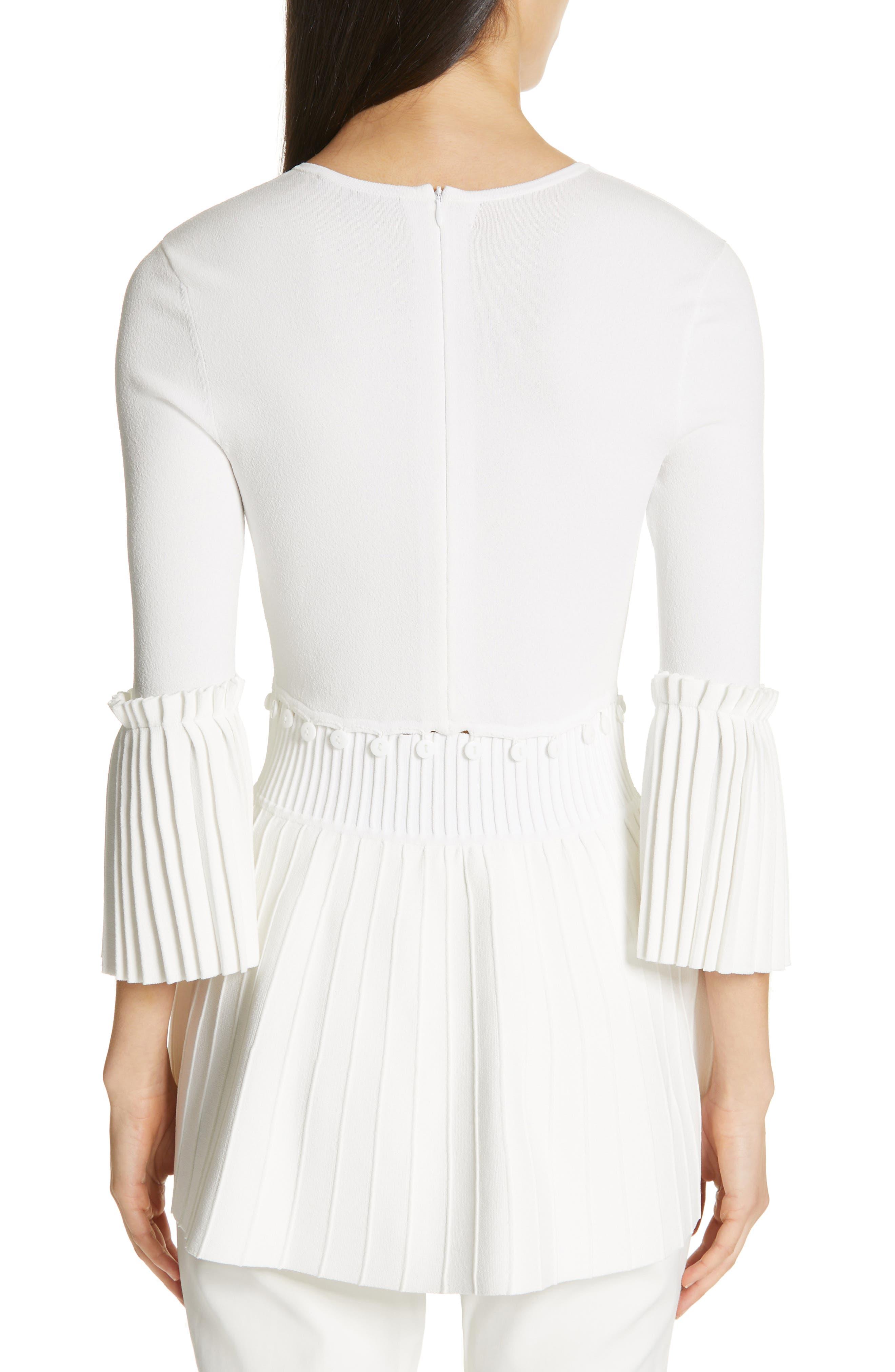 LELA ROSE,                             Pleated Knit Top,                             Alternate thumbnail 2, color,                             WHITE