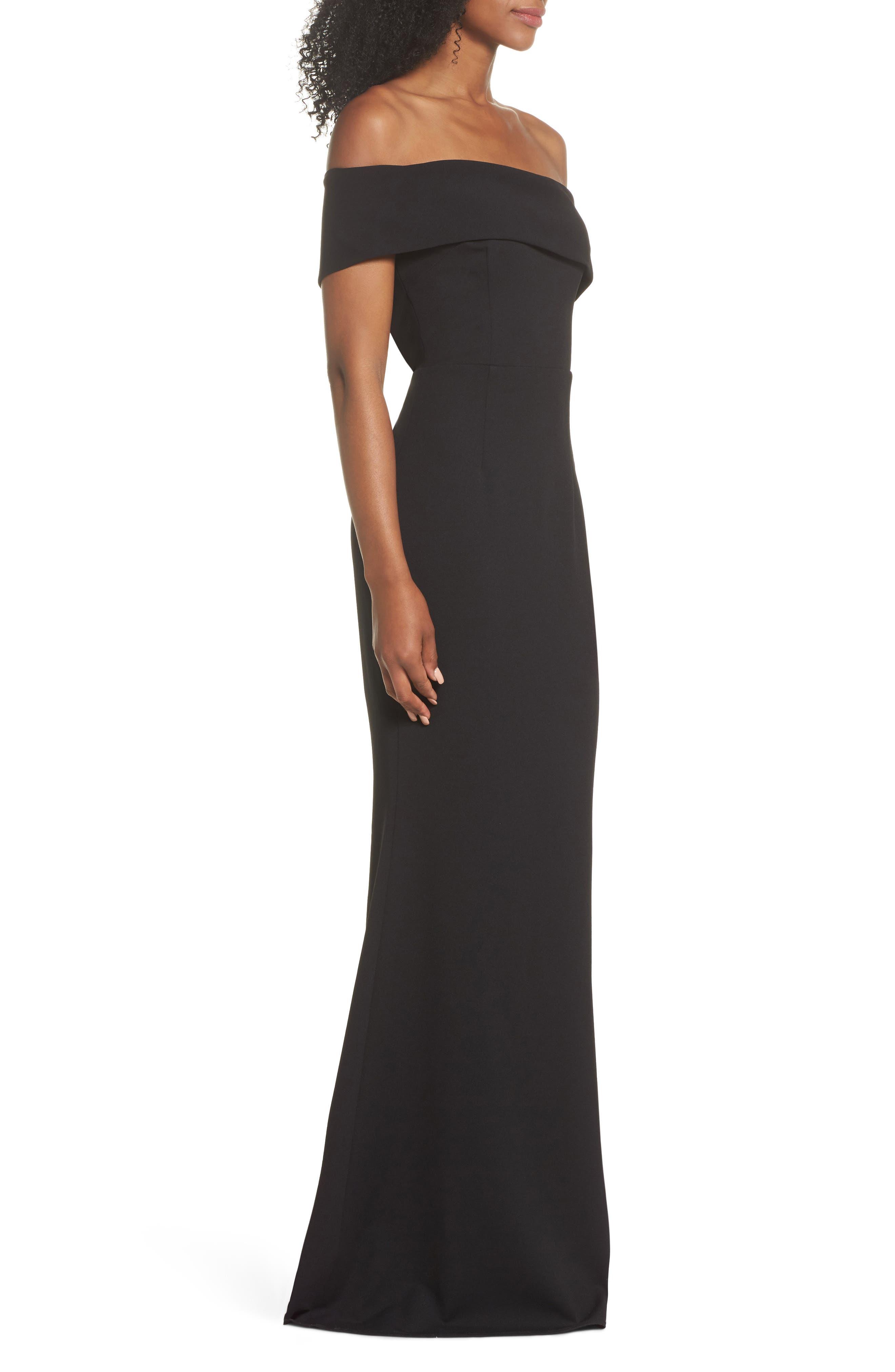 Titan One-Shoulder Cutout Crepe Gown,                             Alternate thumbnail 3, color,                             BLACK