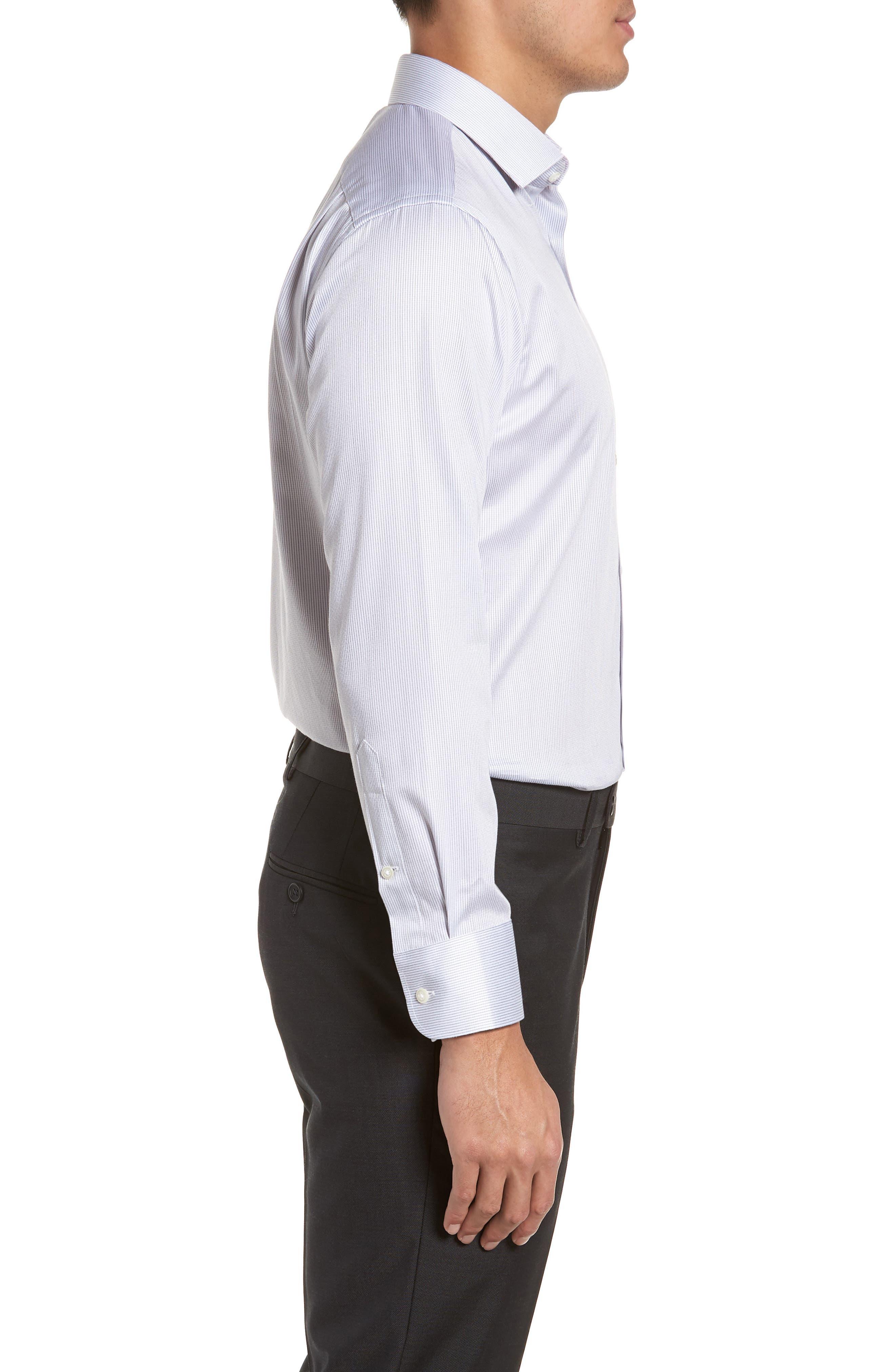 Trim Fit Stripe Dress Shirt,                             Alternate thumbnail 10, color,