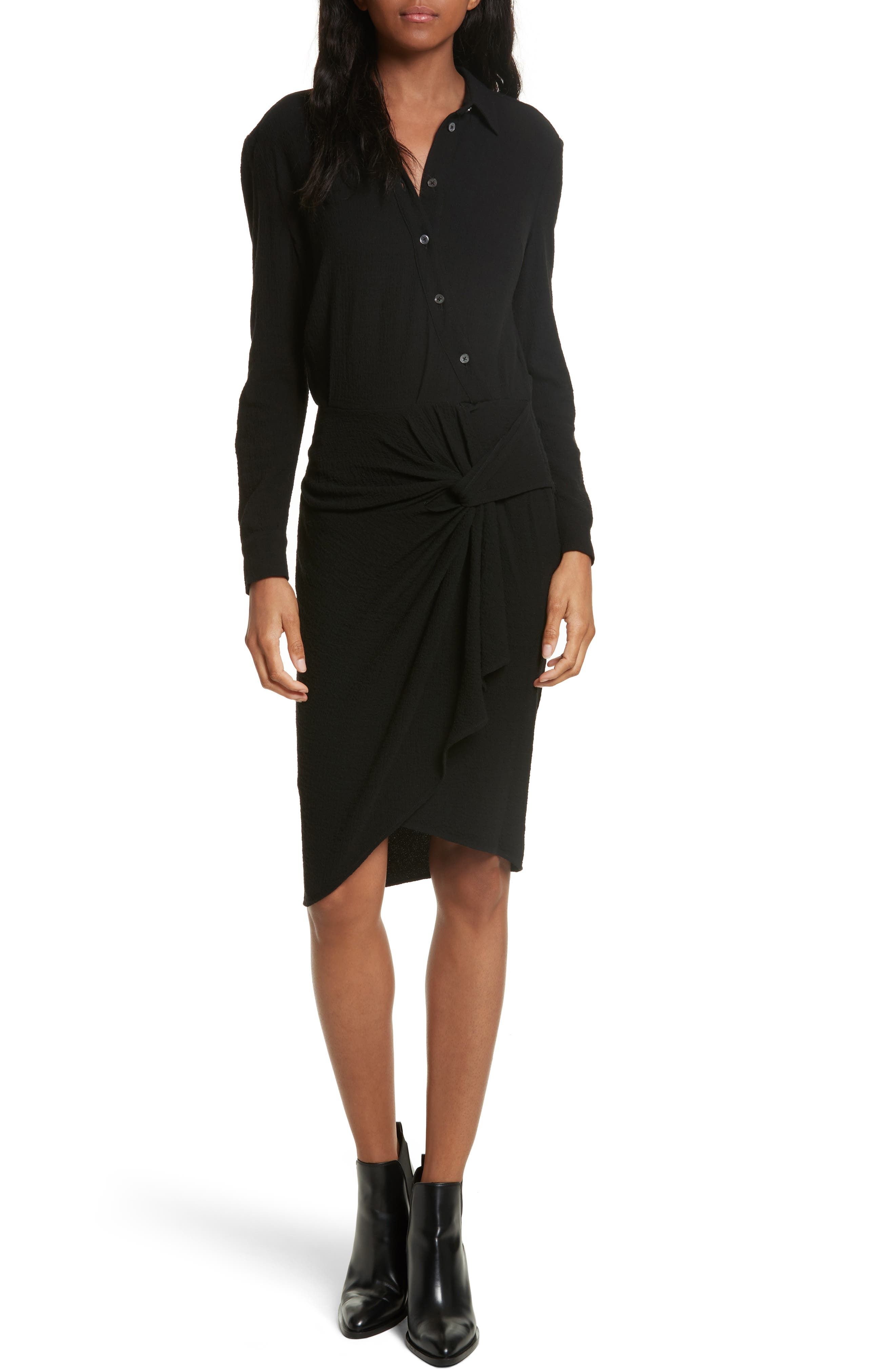 Wren Twist Hem Shirtdress,                         Main,                         color, 001