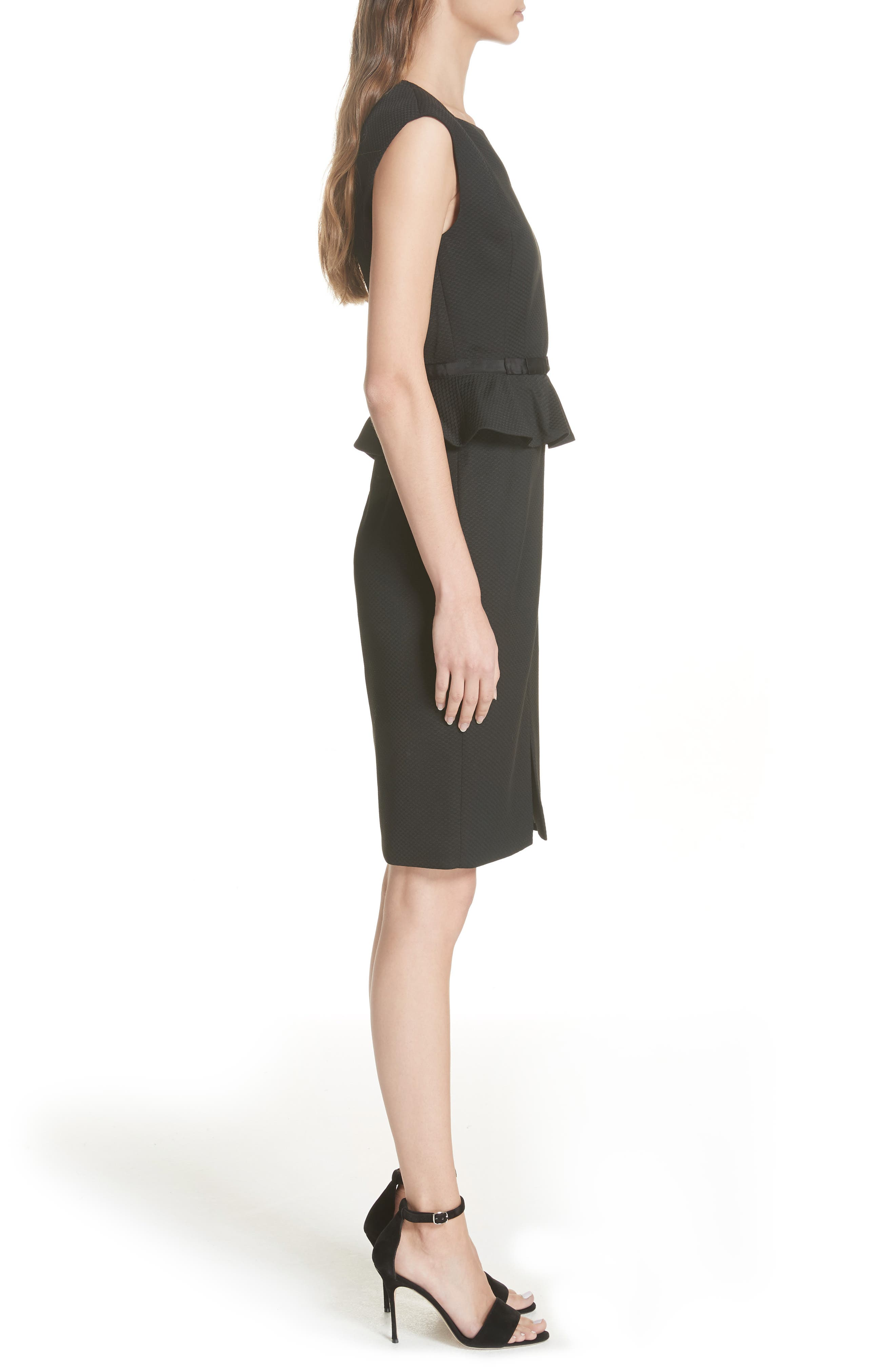 Ted Working Title Textured Peplum Dress,                             Alternate thumbnail 3, color,                             BLACK