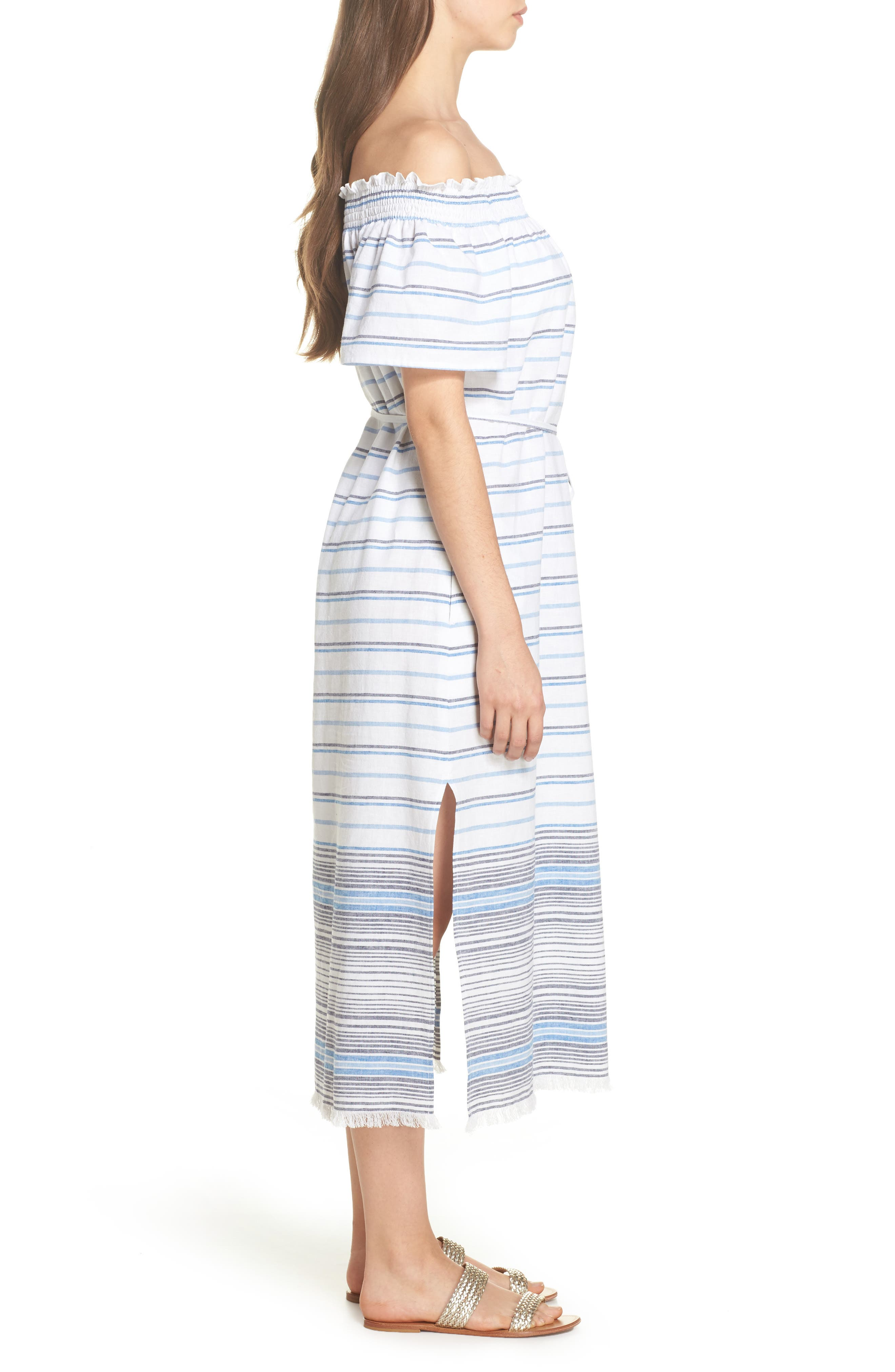 Stripe Linen & Cotton Off the Shoulder Cover-Up Dress,                             Alternate thumbnail 3, color,                             100