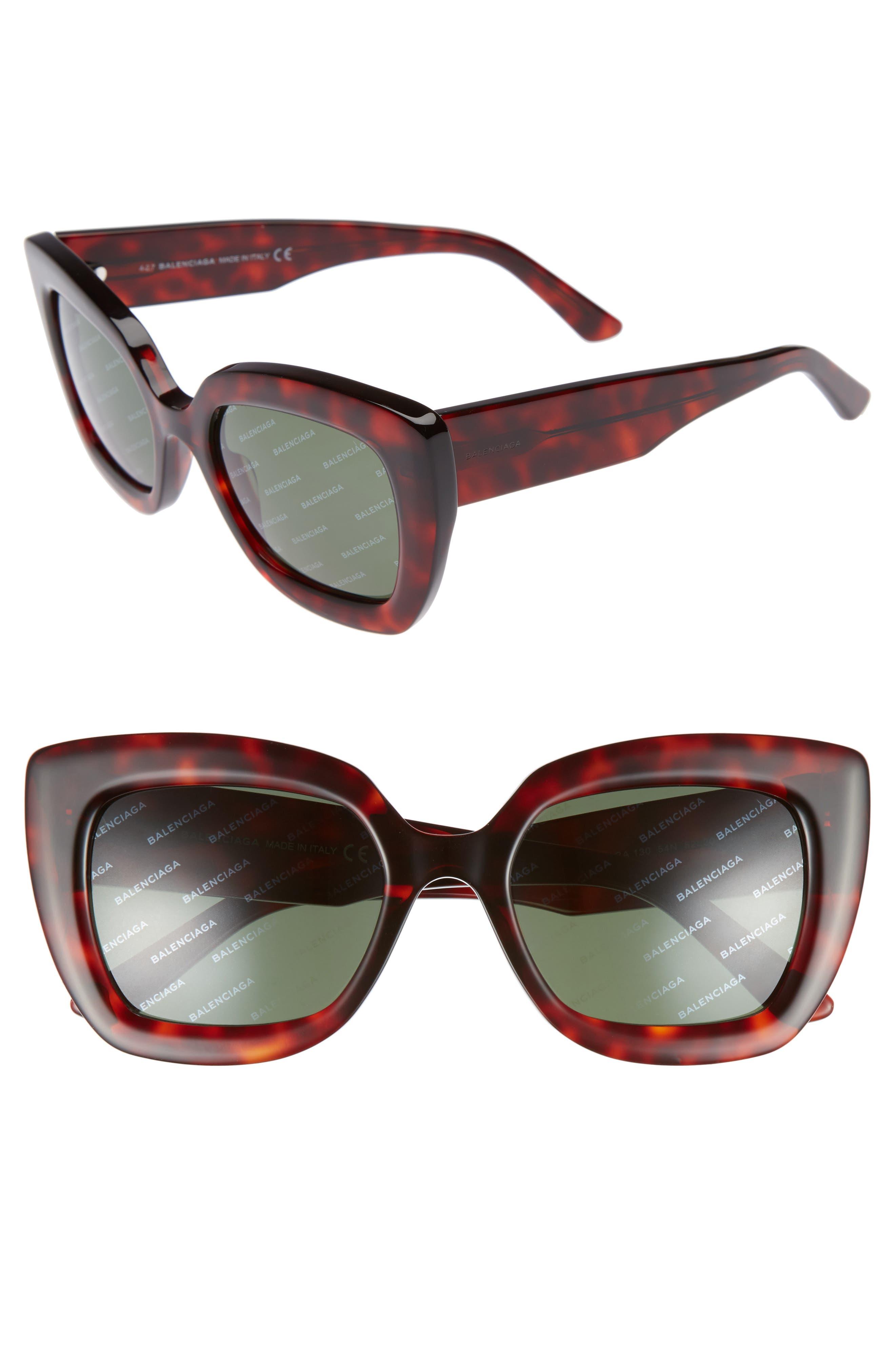 52mm Cat Eye Sunglasses,                         Main,                         color, RED HAVANA/ GREEN