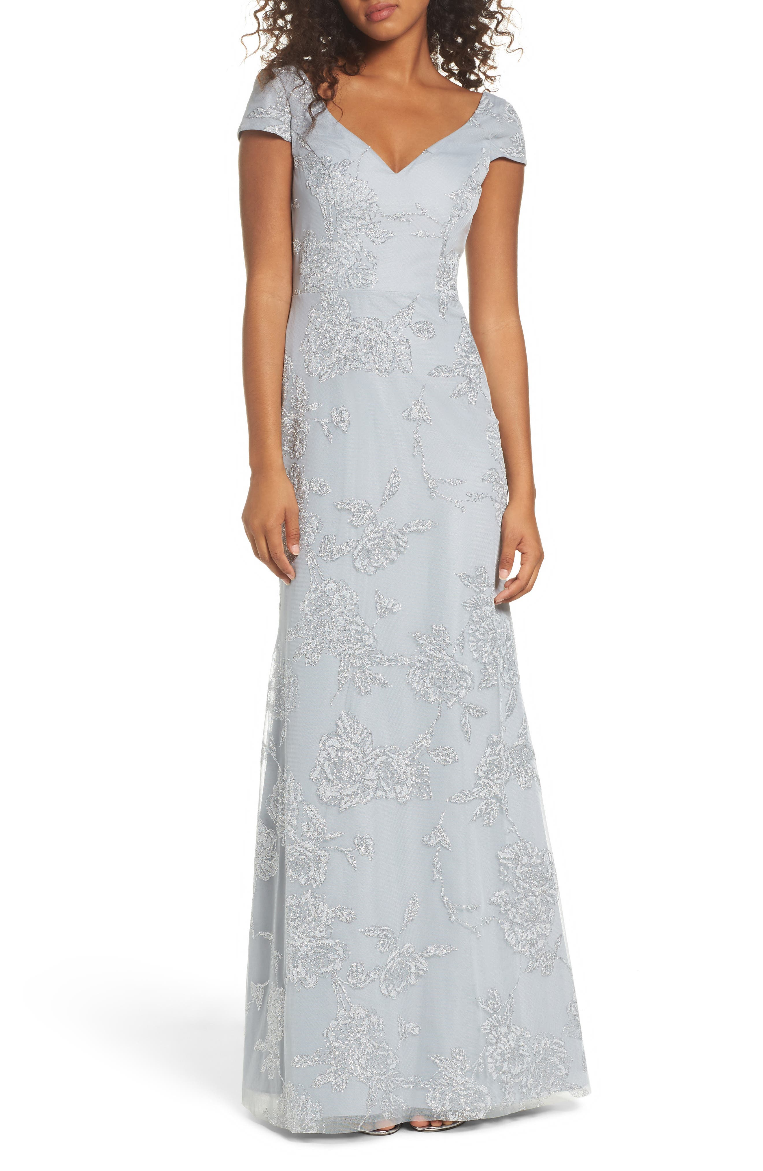 Beaded Trumpet Gown,                         Main,                         color, PEWTER