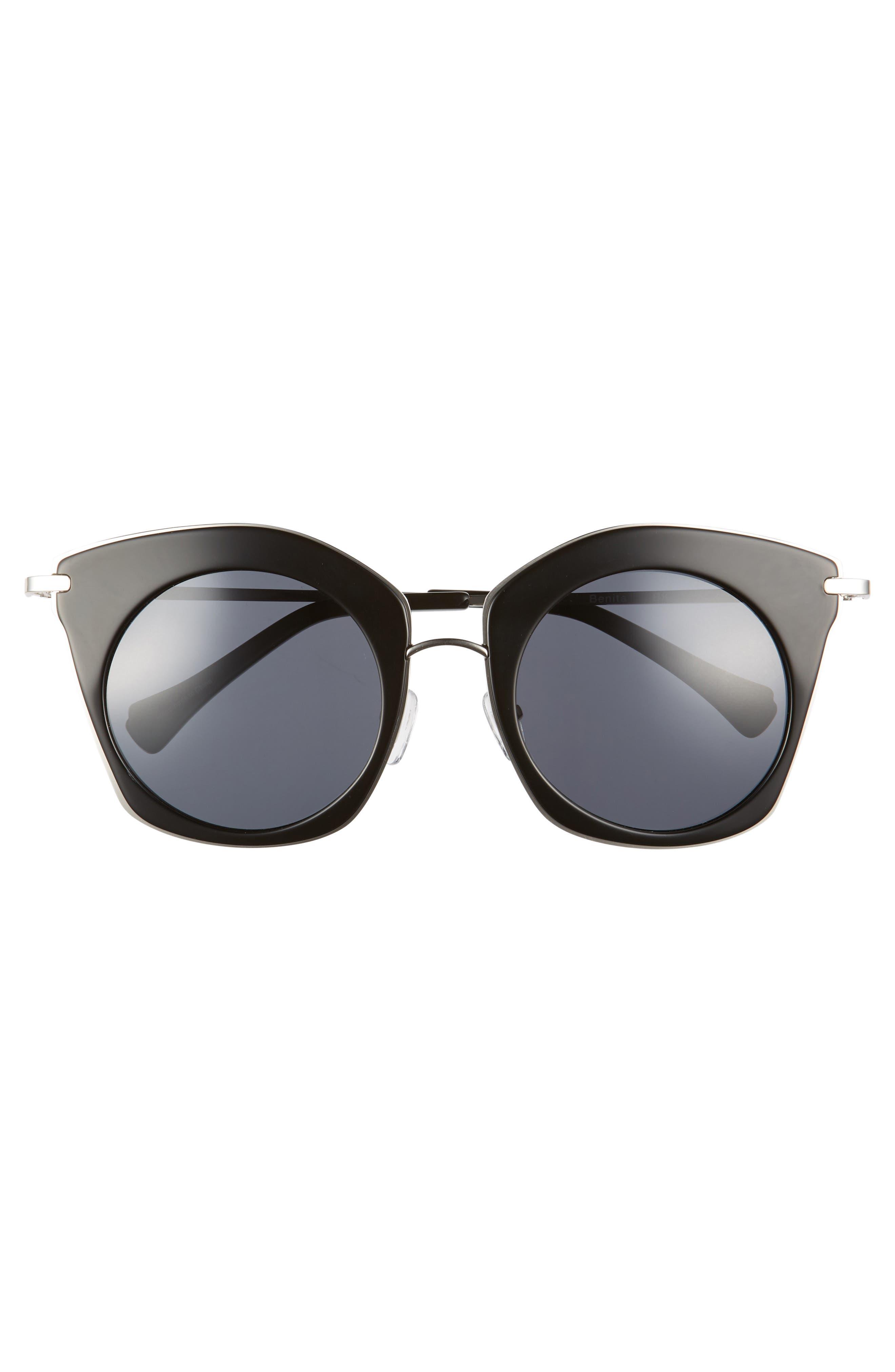 Benita 52mm Polarized Sunglasses,                             Alternate thumbnail 3, color,                             BLACK POLAR