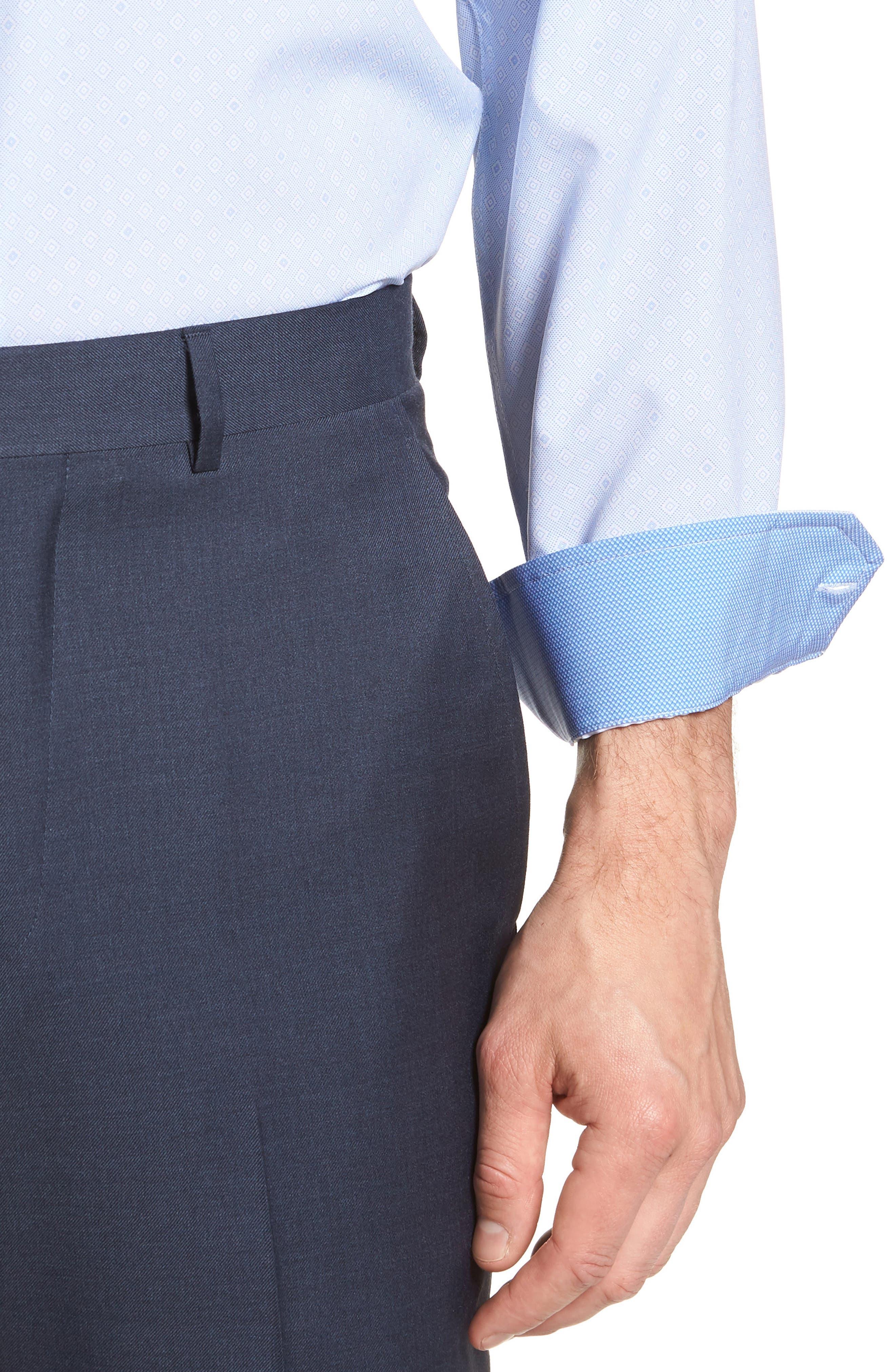 Trim Fit Geometric 4-Way Stretch Dress Shirt,                             Alternate thumbnail 2, color,                             BLUE