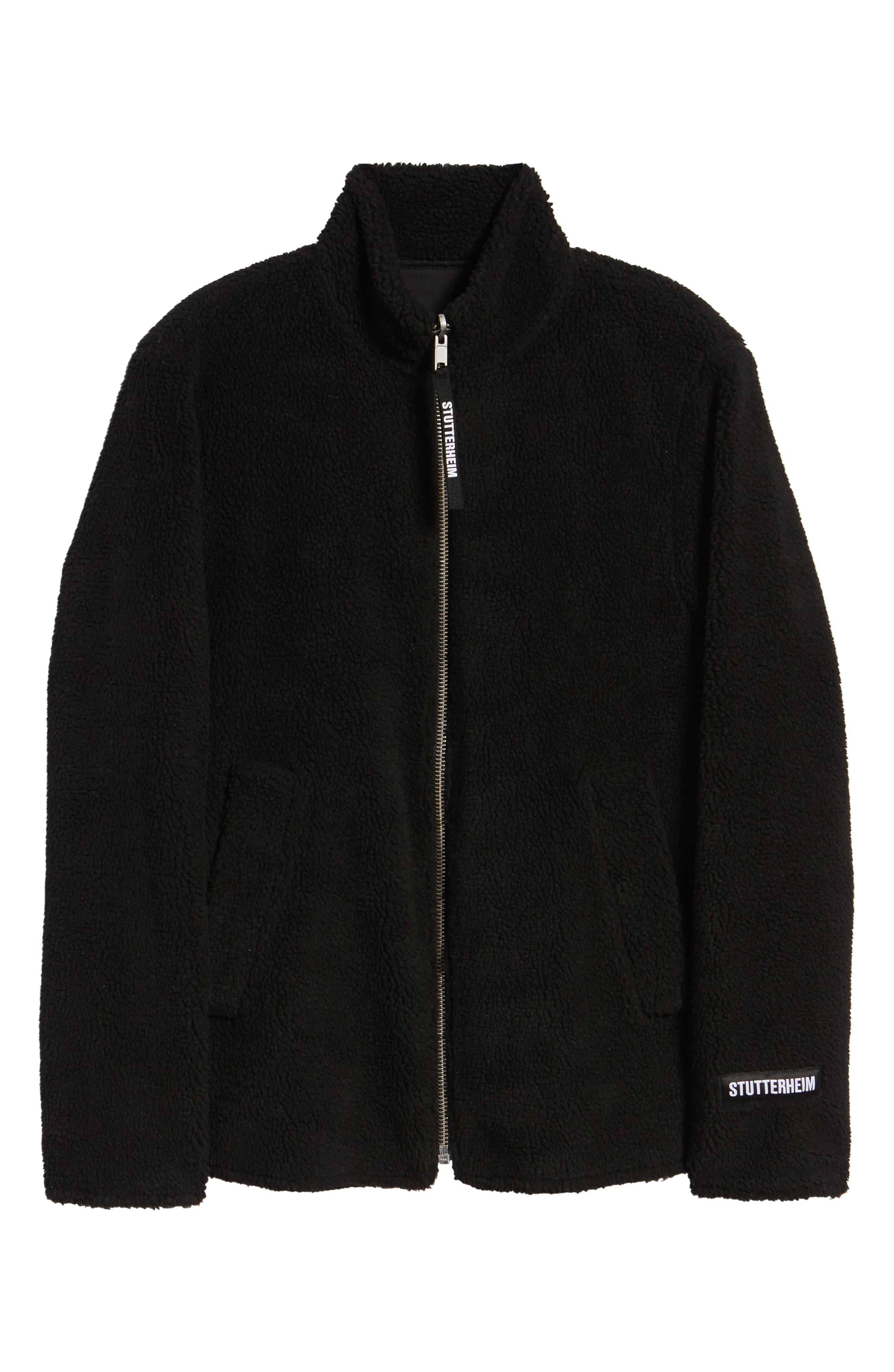 Varby Reversible Fleece Jacket,                             Alternate thumbnail 8, color,                             BLACK