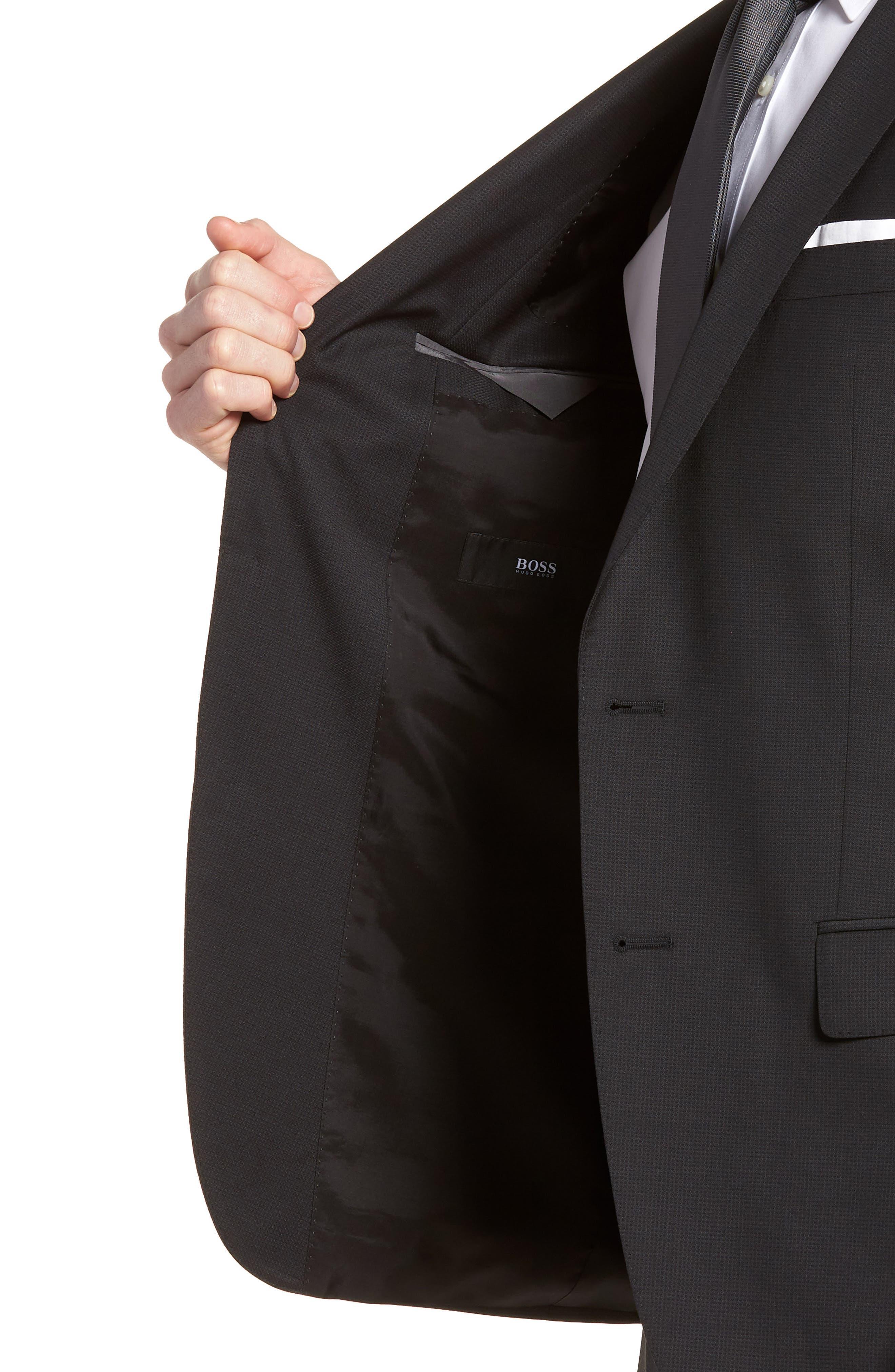 'Huge/Genius' Trim Fit Solid Wool Suit,                             Alternate thumbnail 4, color,                             BLACK