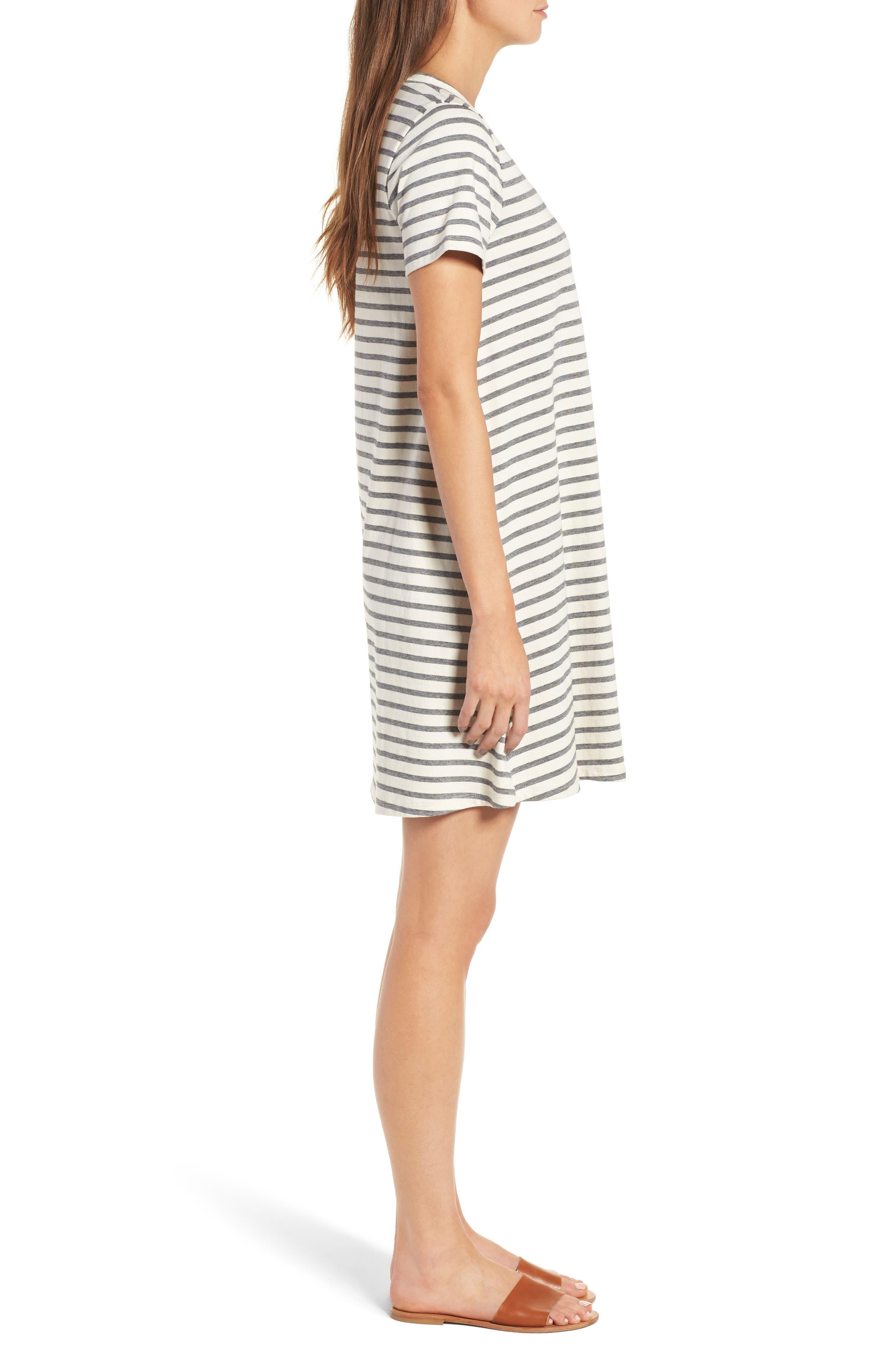 Retreat Stripe Cotton Shift Dress,                             Alternate thumbnail 3, color,                             100