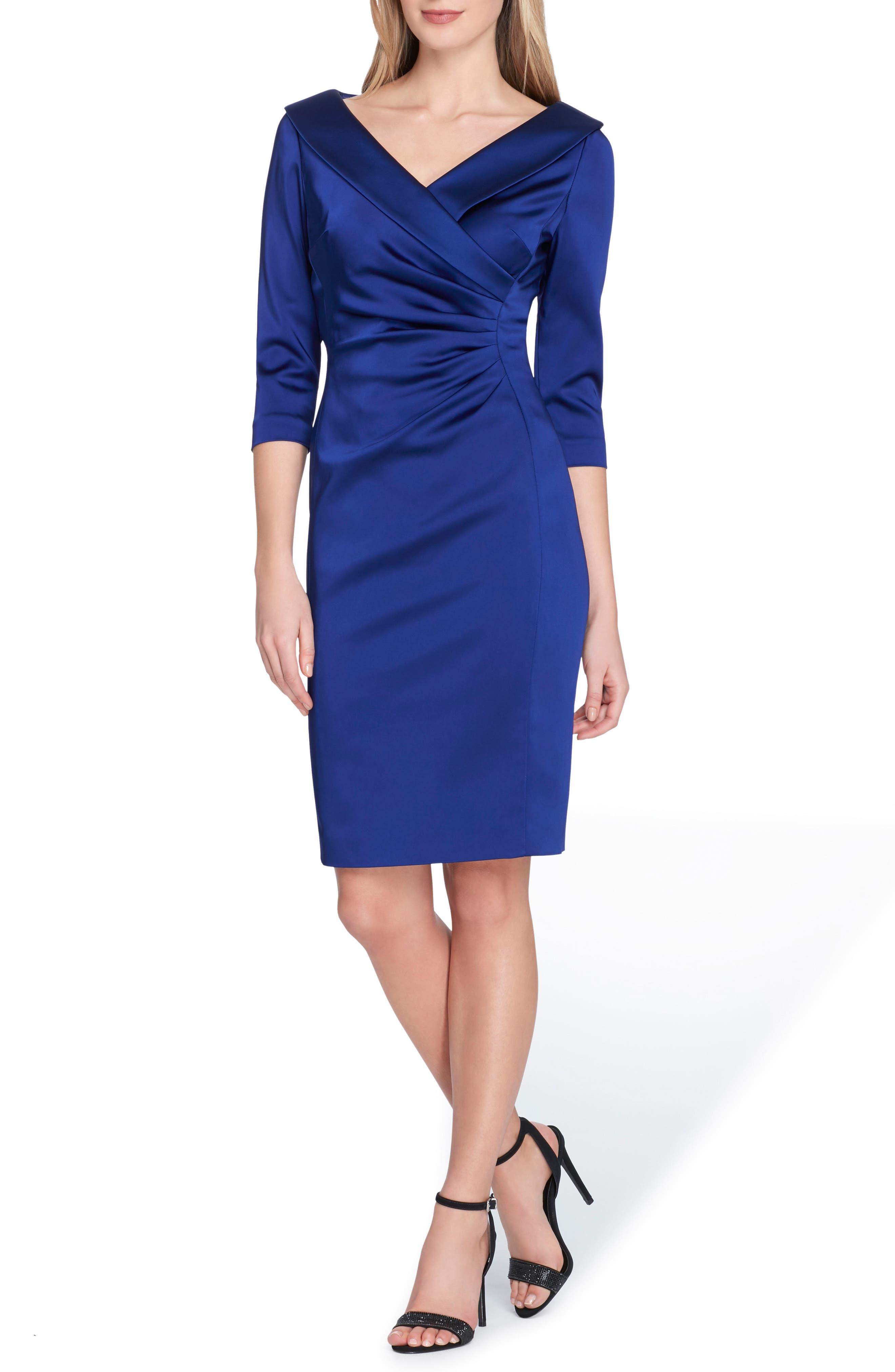 Portrait Collar Stretch Satin Sheath Dress,                             Main thumbnail 1, color,
