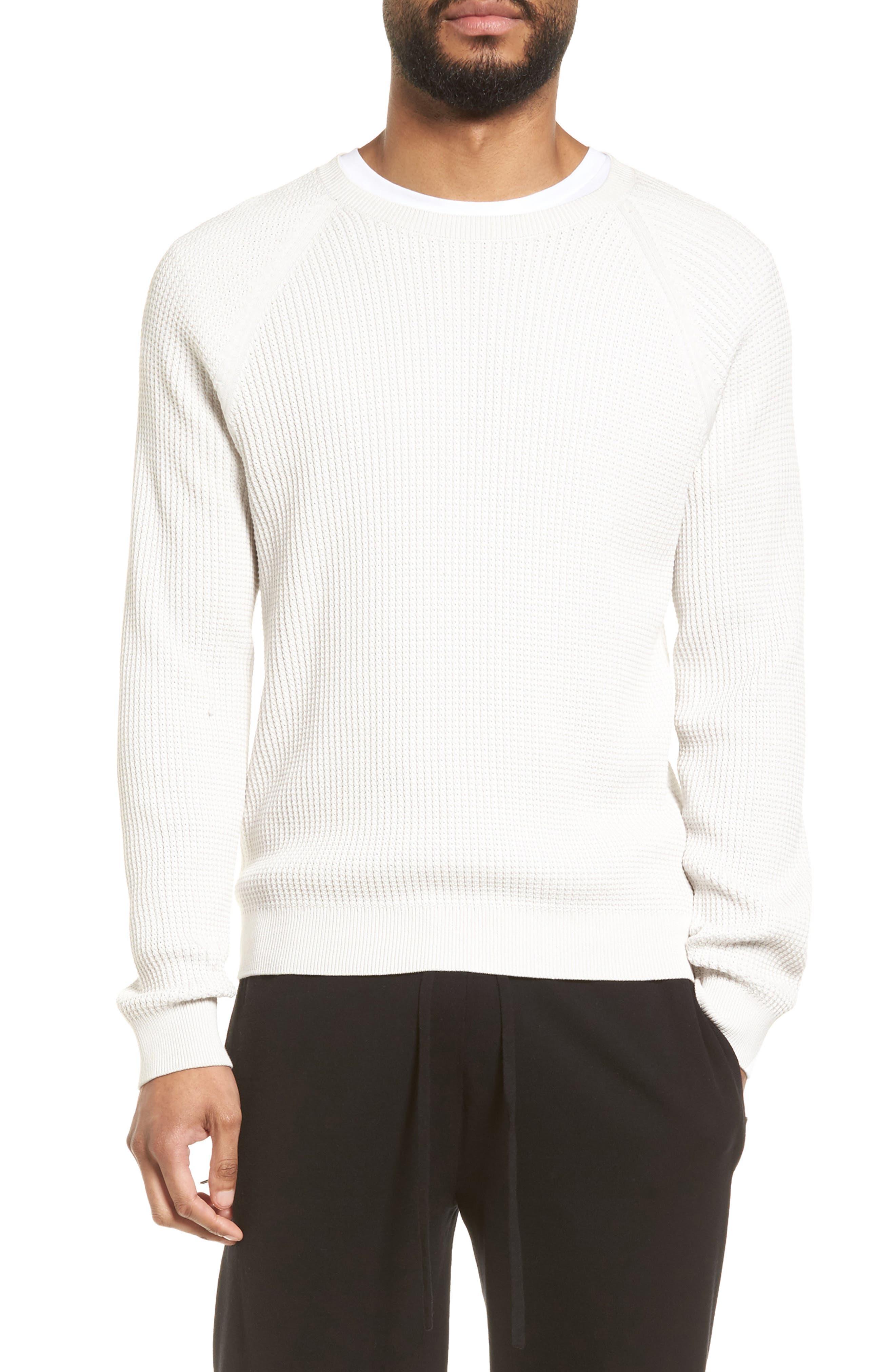 Slim Fit Thermal Knit Raglan Sweater,                         Main,                         color, 100
