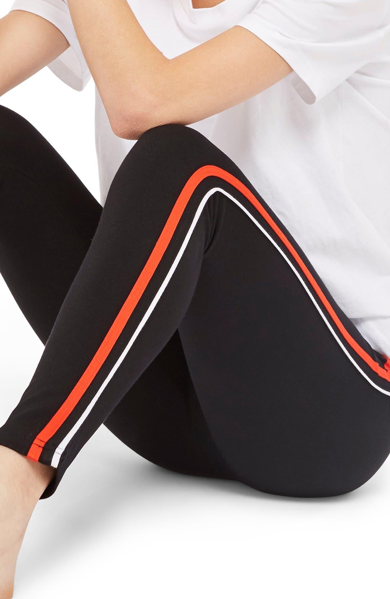 Side Stripe Ponte Leggings,                             Main thumbnail 1, color,                             BLACK WHITE MULTI