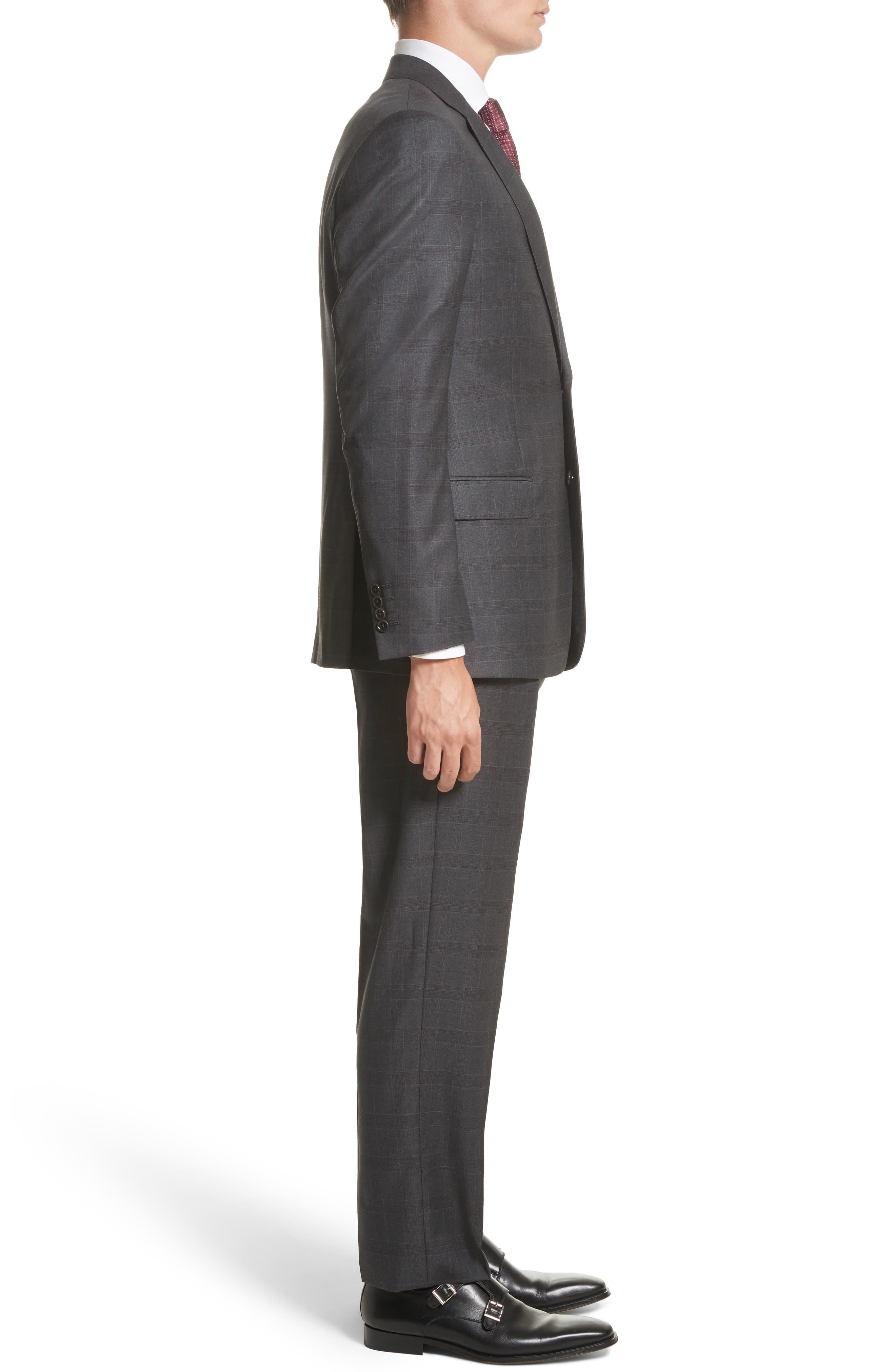 G-Line Trim Fit Plaid Wool Suit,                             Alternate thumbnail 3, color,                             038