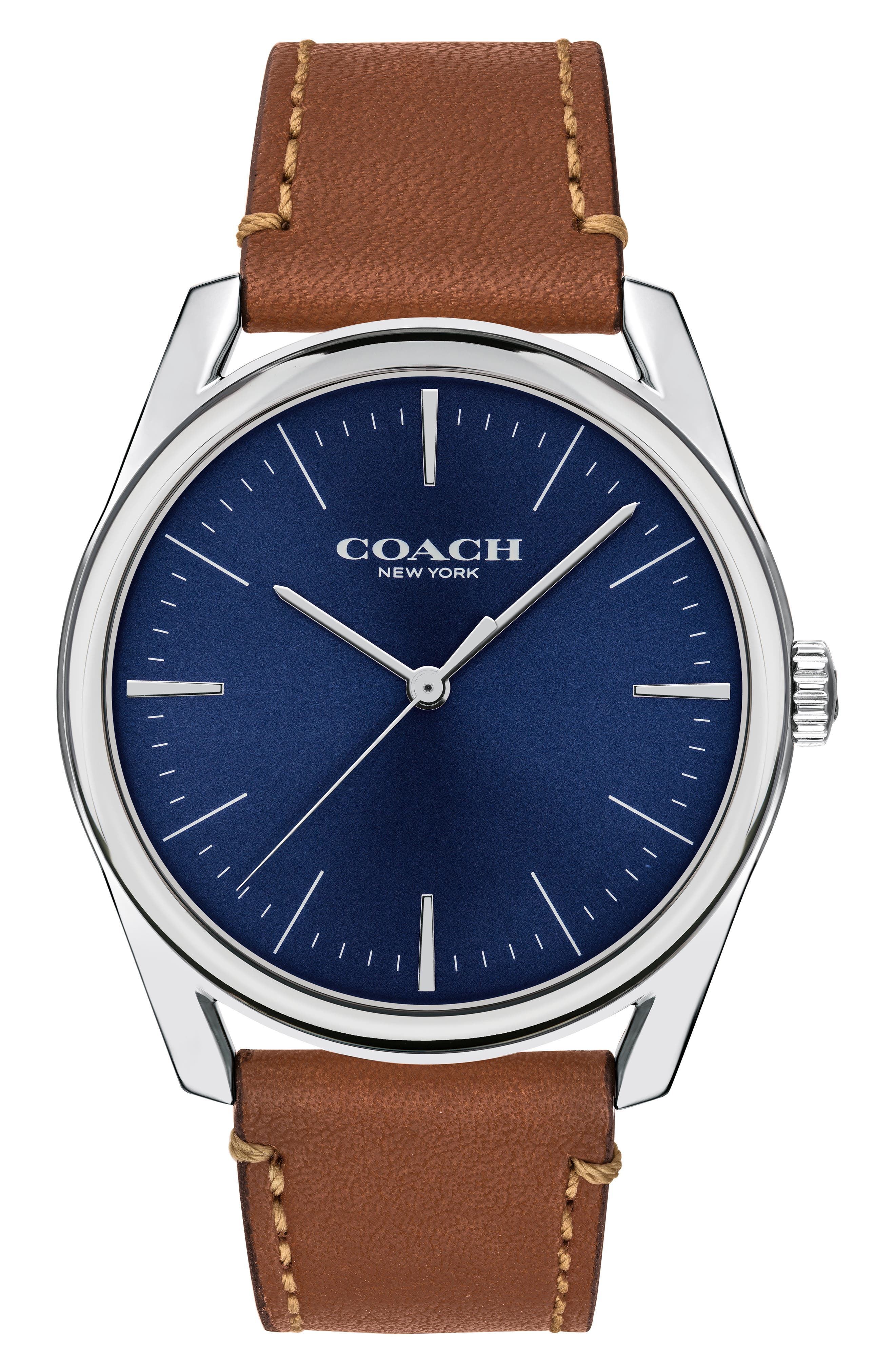 Preston Leather Strap Watch, 41mm,                             Main thumbnail 1, color,                             SADDLE/ SILVER/ NAVY