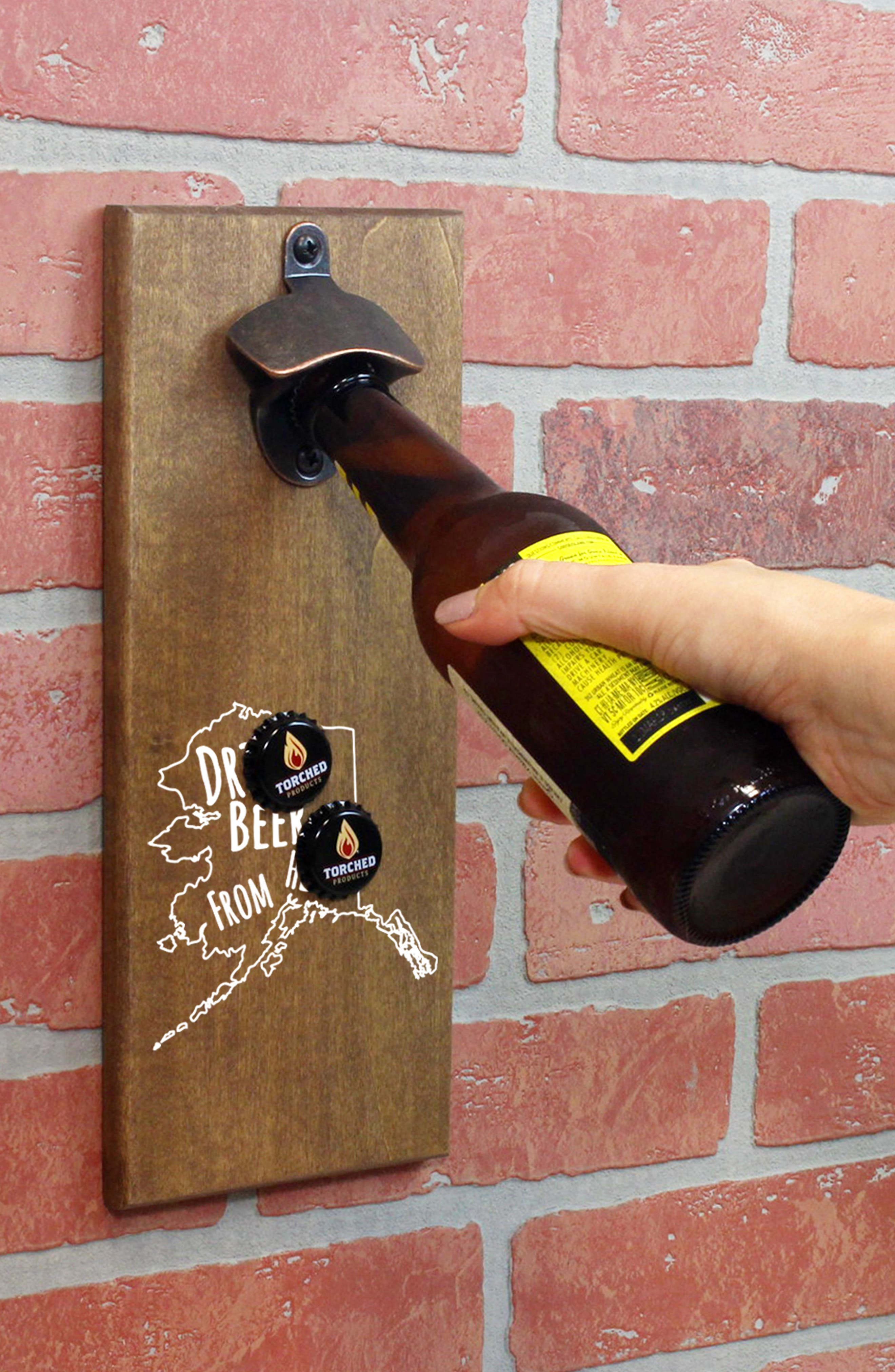 Drink Beer from Here State Wall Mount Bottle Opener,                             Alternate thumbnail 3, color,                             ALASKA