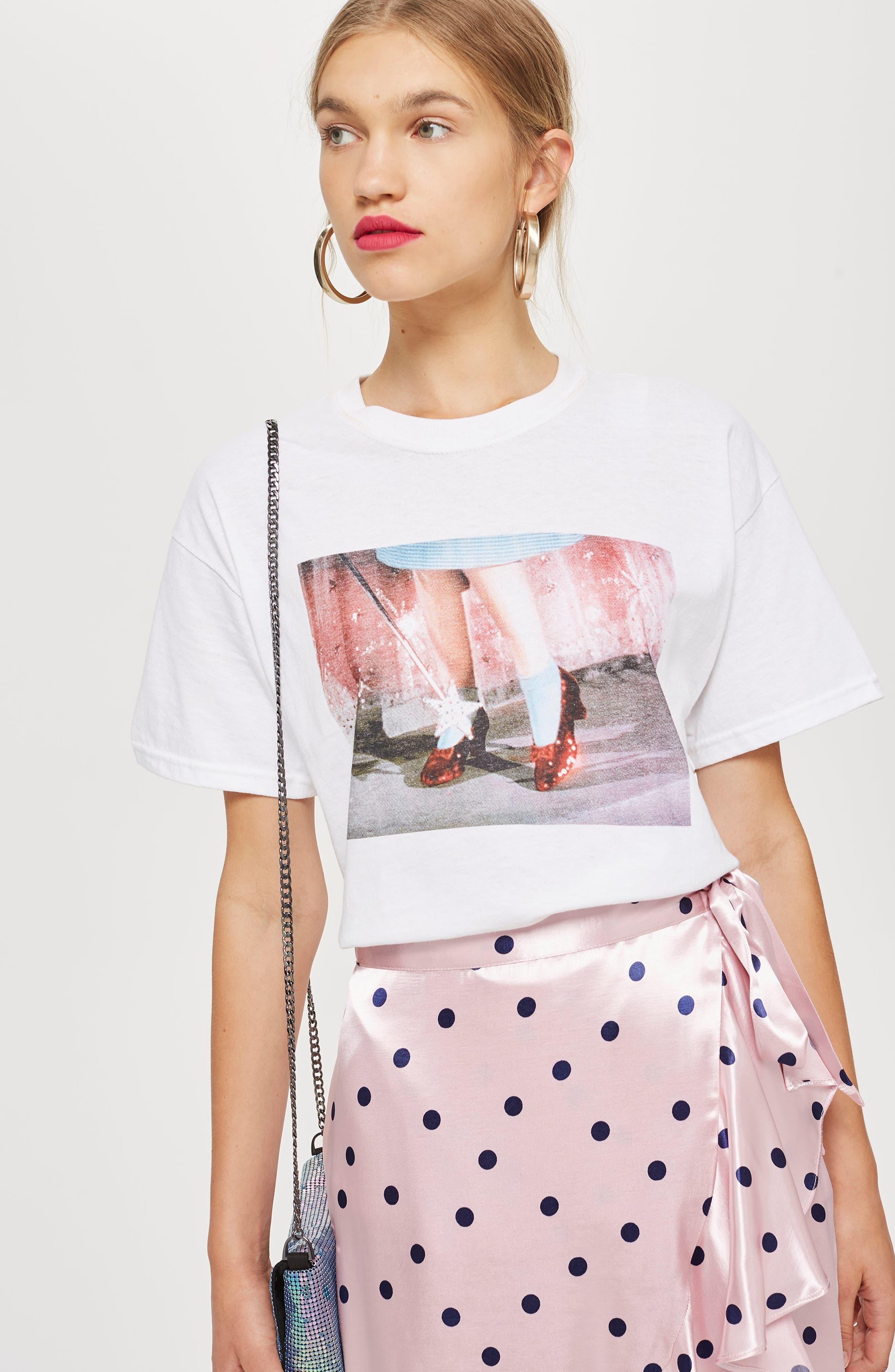 Satin Spot Ruffle Skirt,                             Alternate thumbnail 6, color,                             PINK MULTI