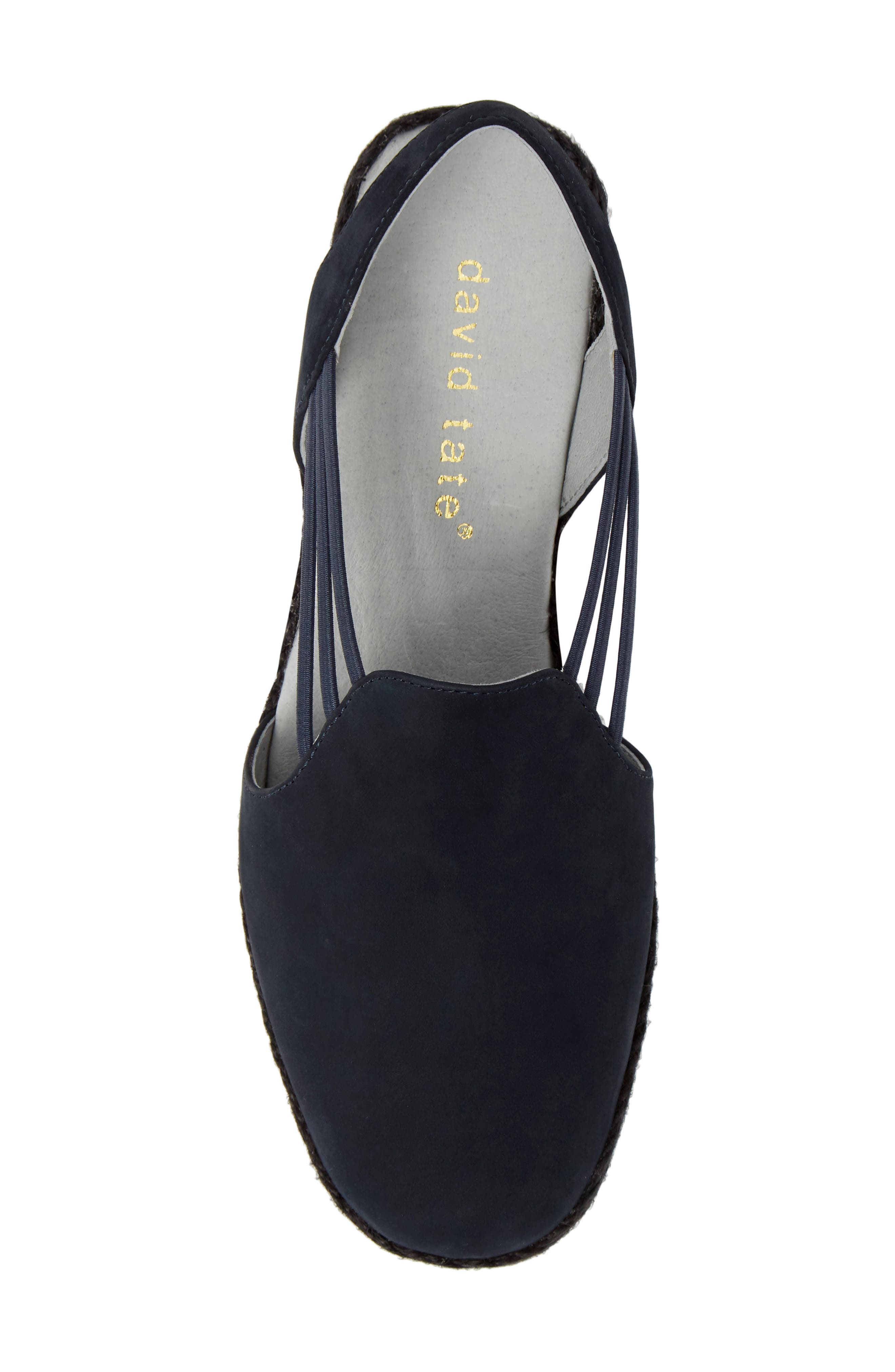 DAVID TATE,                             'Nelly' Slingback Wedge Sandal,                             Alternate thumbnail 5, color,                             NAVY NUBUCK LEATHER