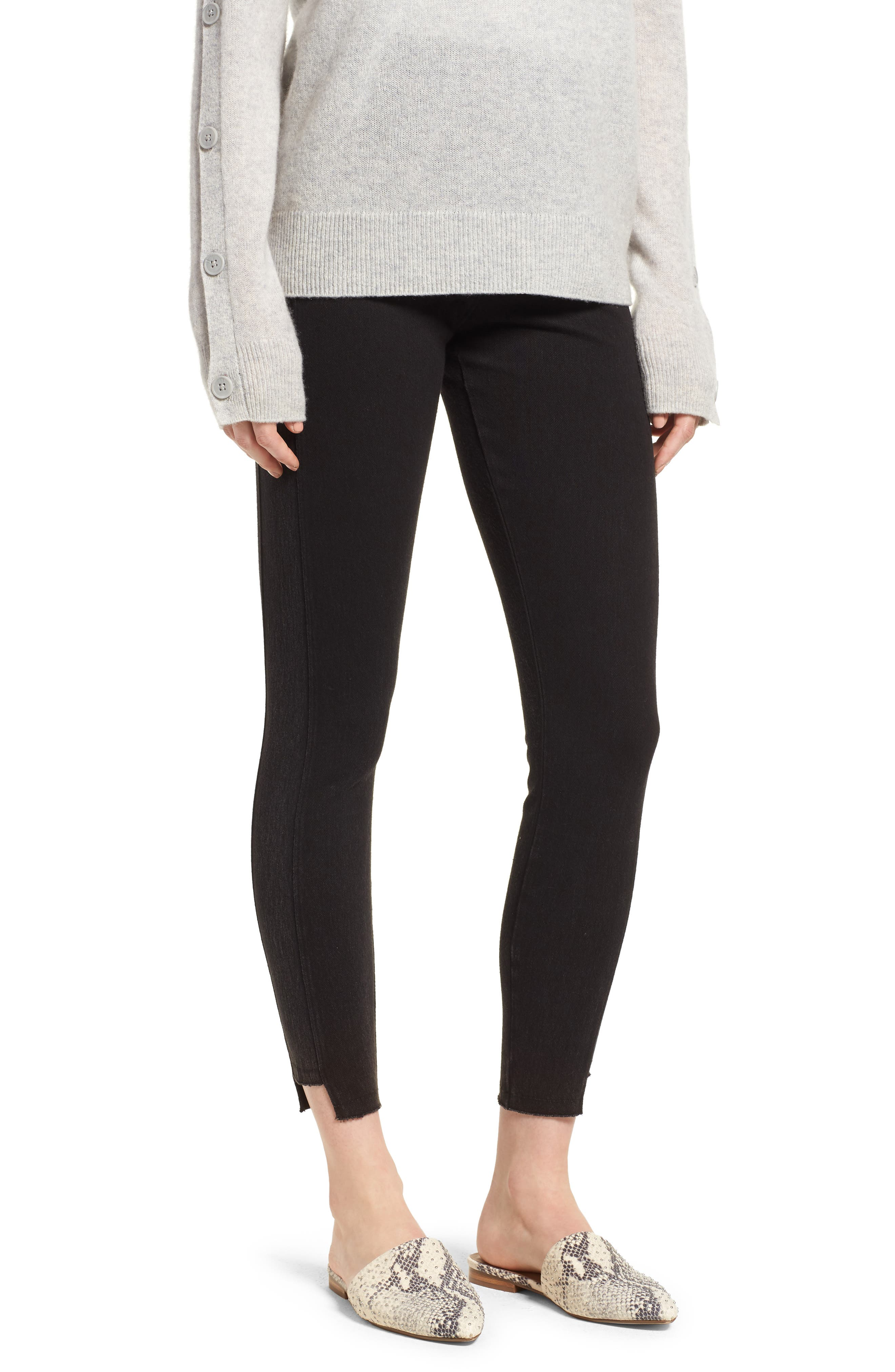 Step Hem Denim Leggings,                         Main,                         color, BLACK