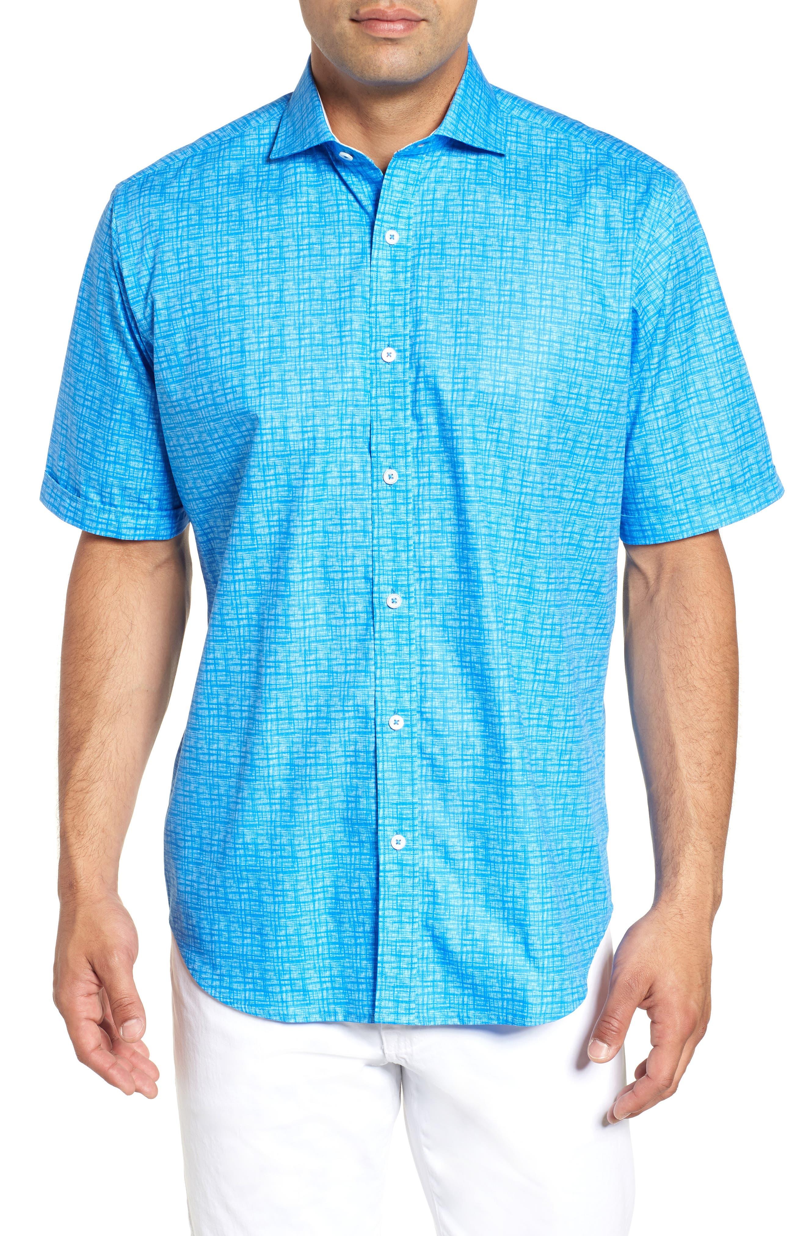 Classic Fit Print Sport Shirt,                             Main thumbnail 1, color,                             CLASSIC BLUE