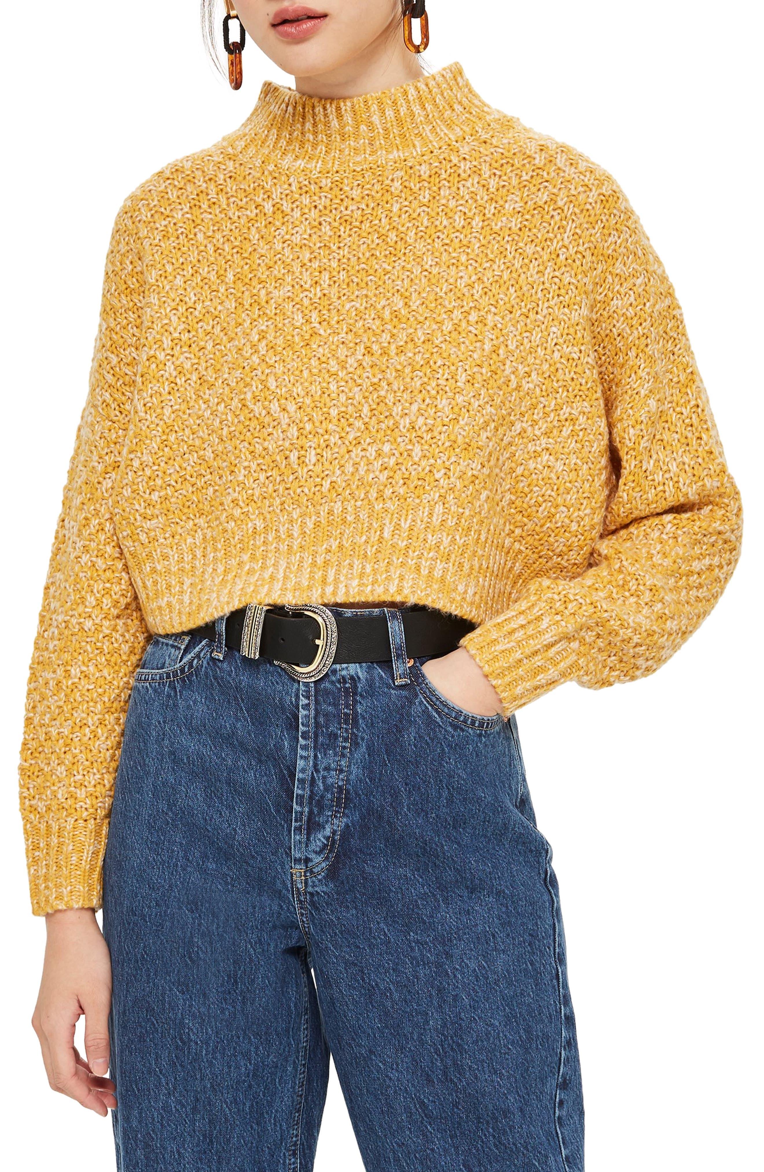 Curve Hem Crop Sweater,                             Main thumbnail 1, color,                             MUSTARD