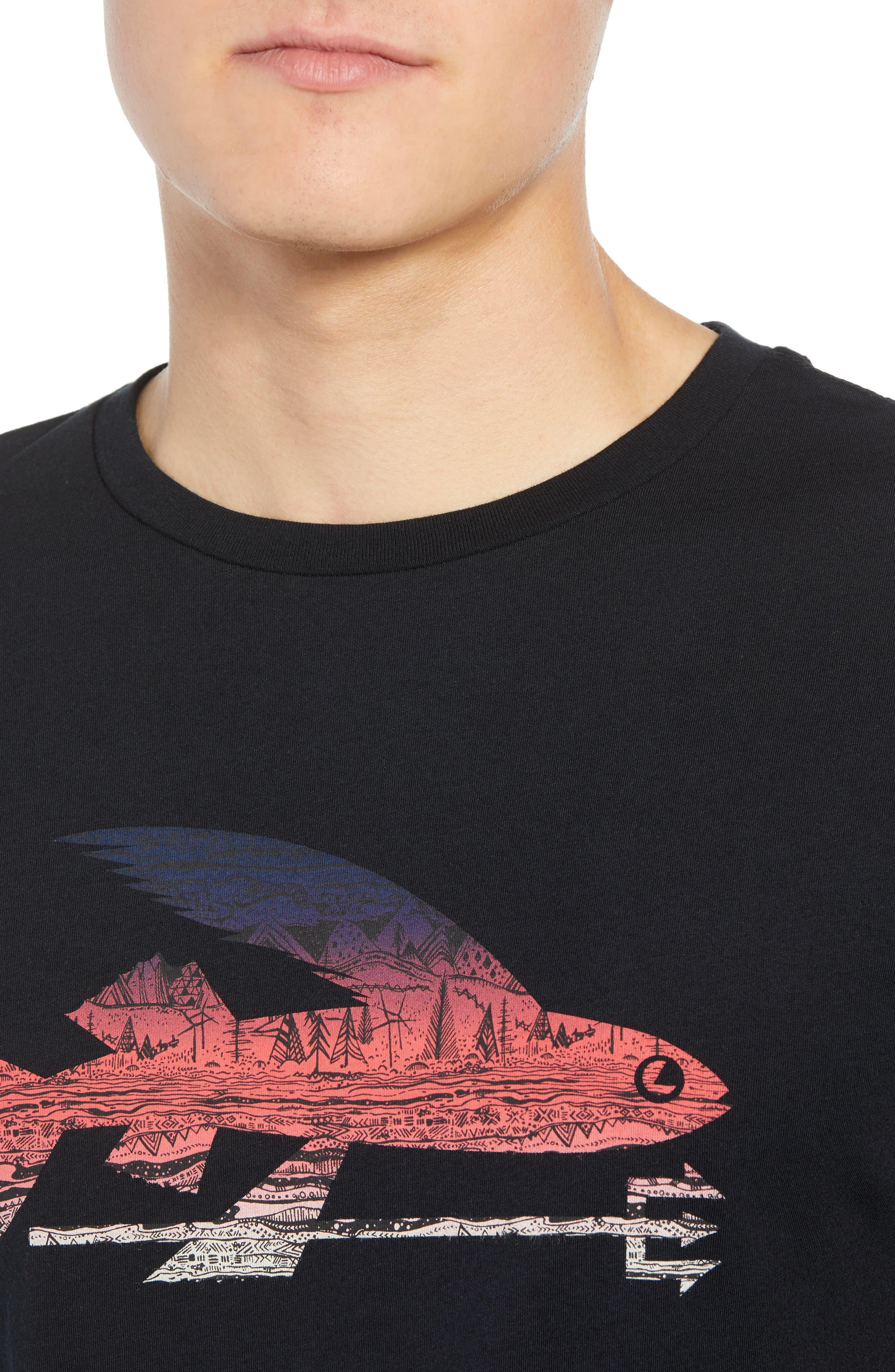 Flying Fish Organic Cotton T-Shirt,                             Alternate thumbnail 4, color,                             BLACK/ ALBANIAN LANDSCAPE