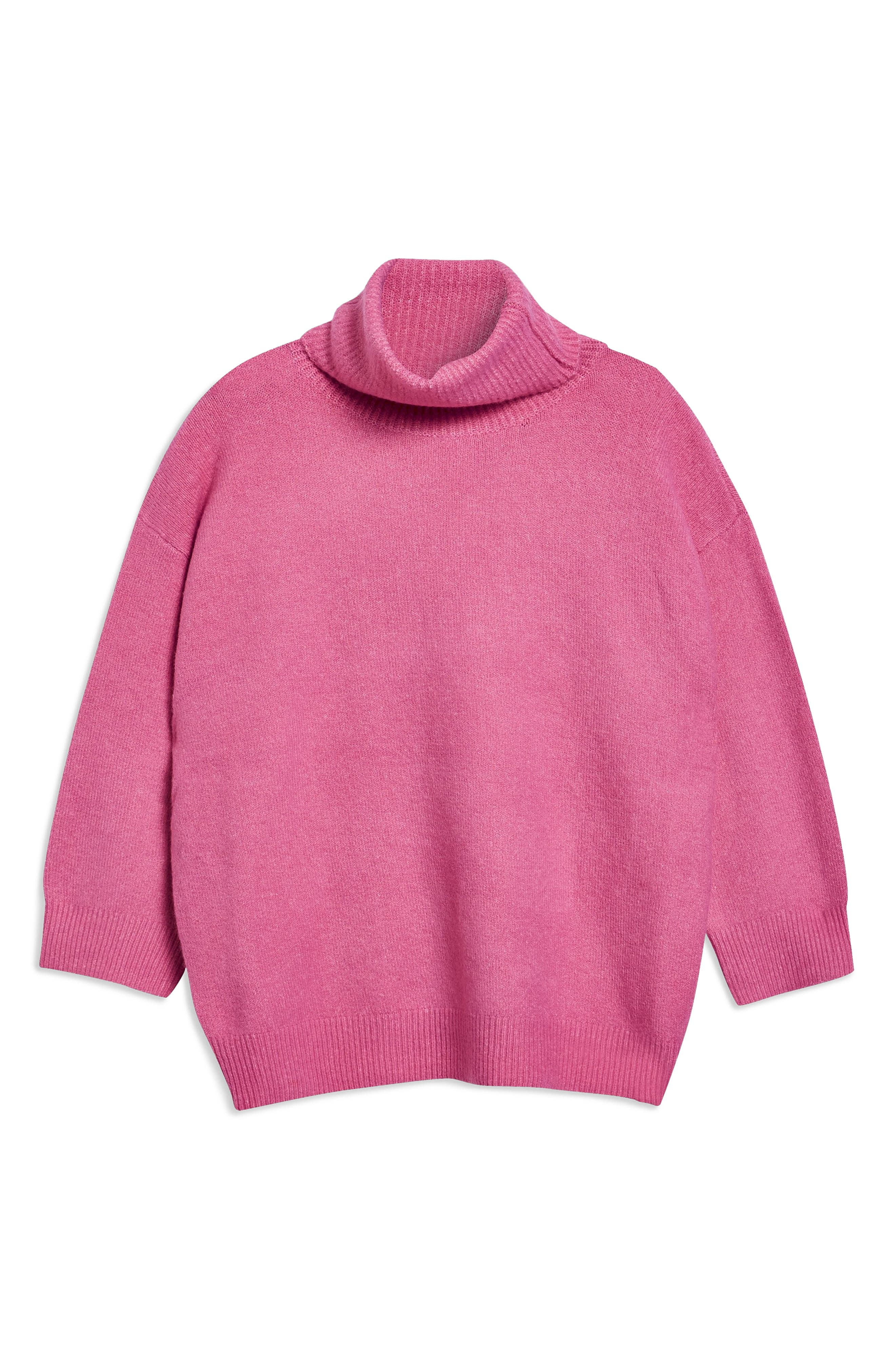 Oversize Turtleneck Sweater,                             Alternate thumbnail 3, color,                             BRIGHT PINK