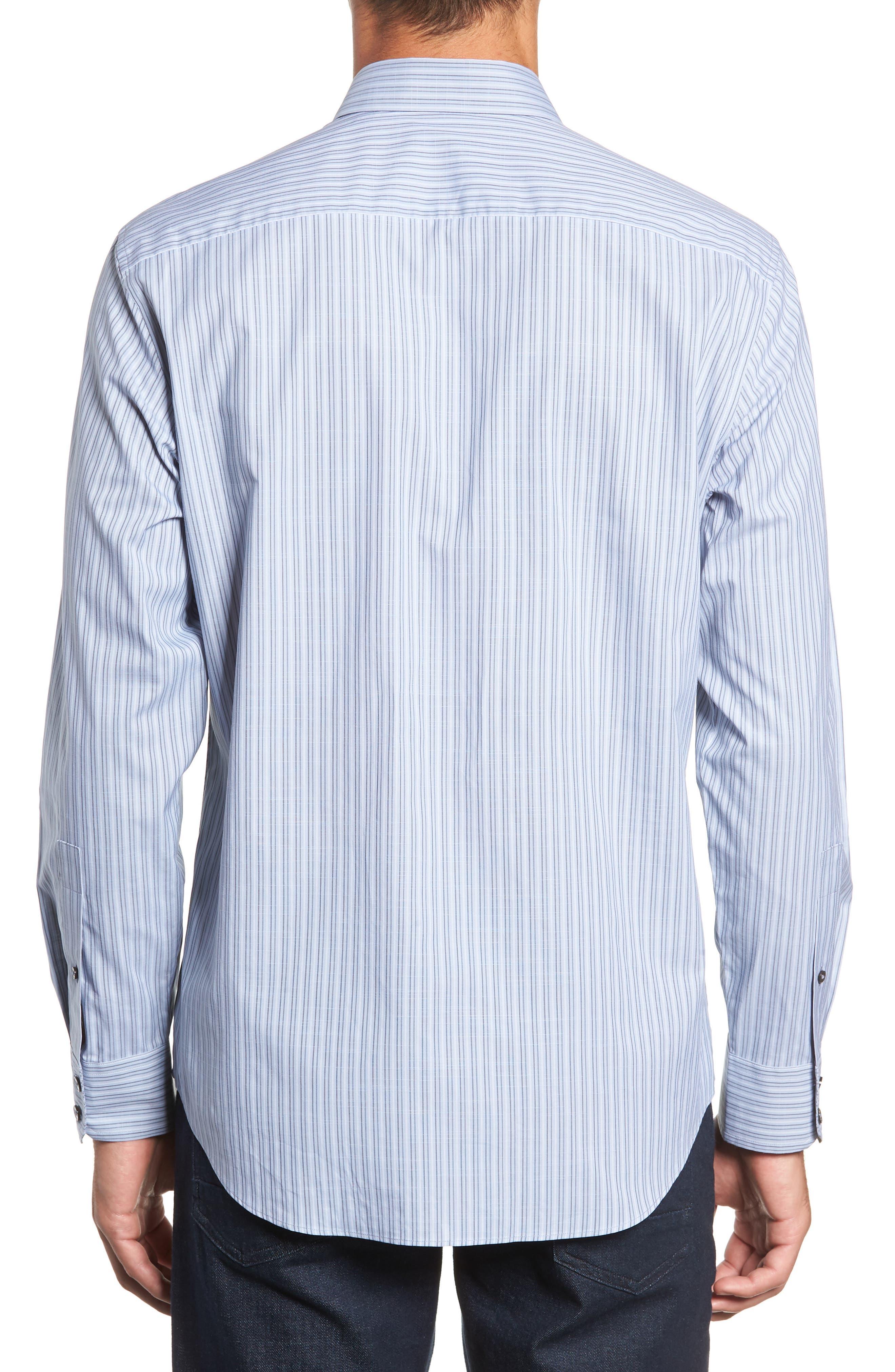 Vinnie Regular Fit Stripe Sport Shirt,                             Alternate thumbnail 3, color,                             SLATE