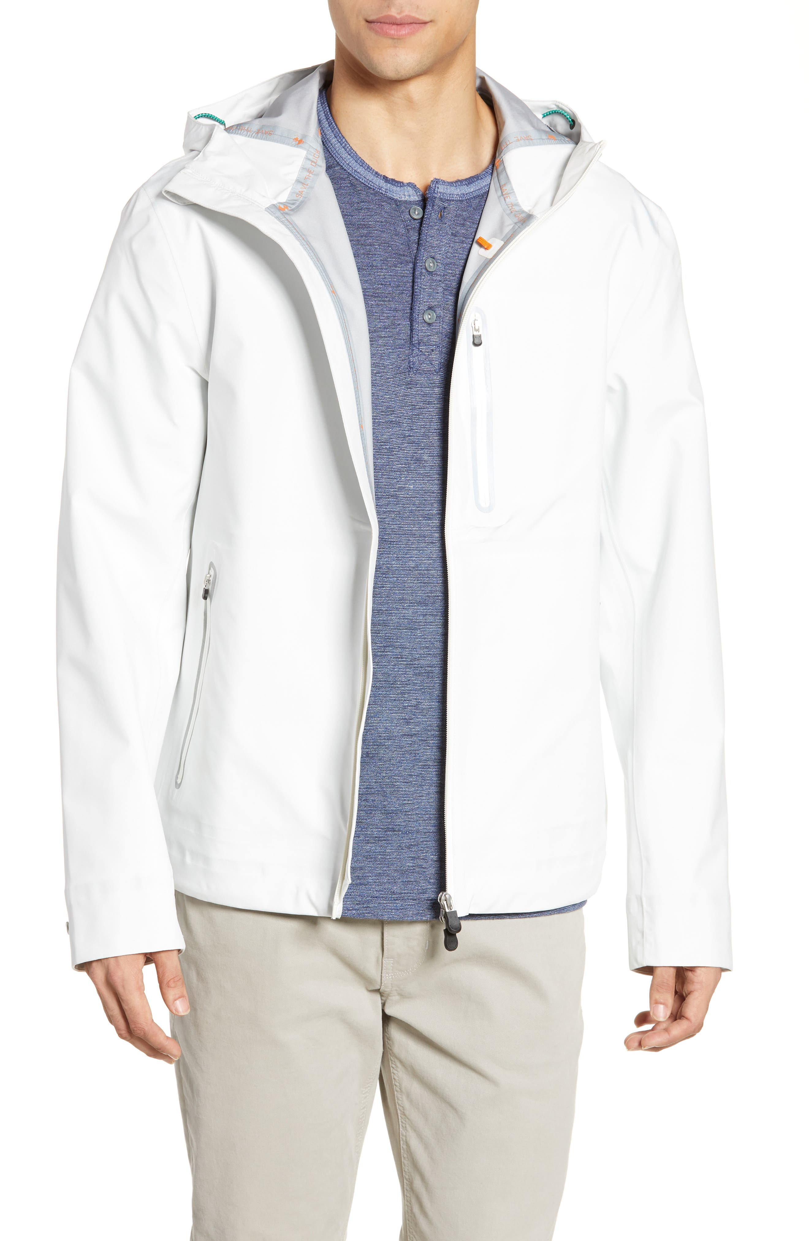 Save The Duck Waterproof Hooded Jacket, White