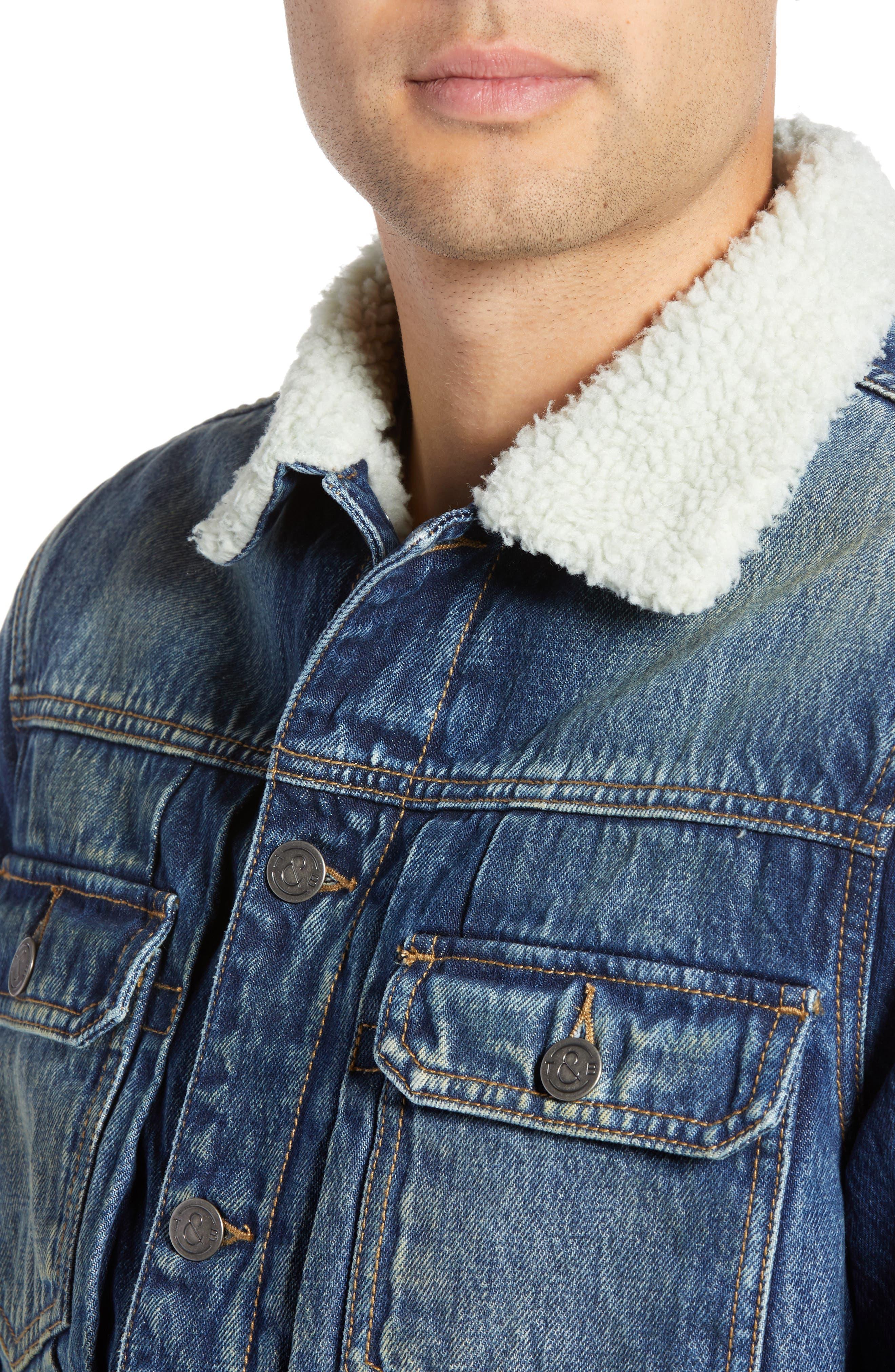 Denim Jacket with Faux Shearling Collar,                             Alternate thumbnail 4, color,                             BLUE MEDIUM DENIM