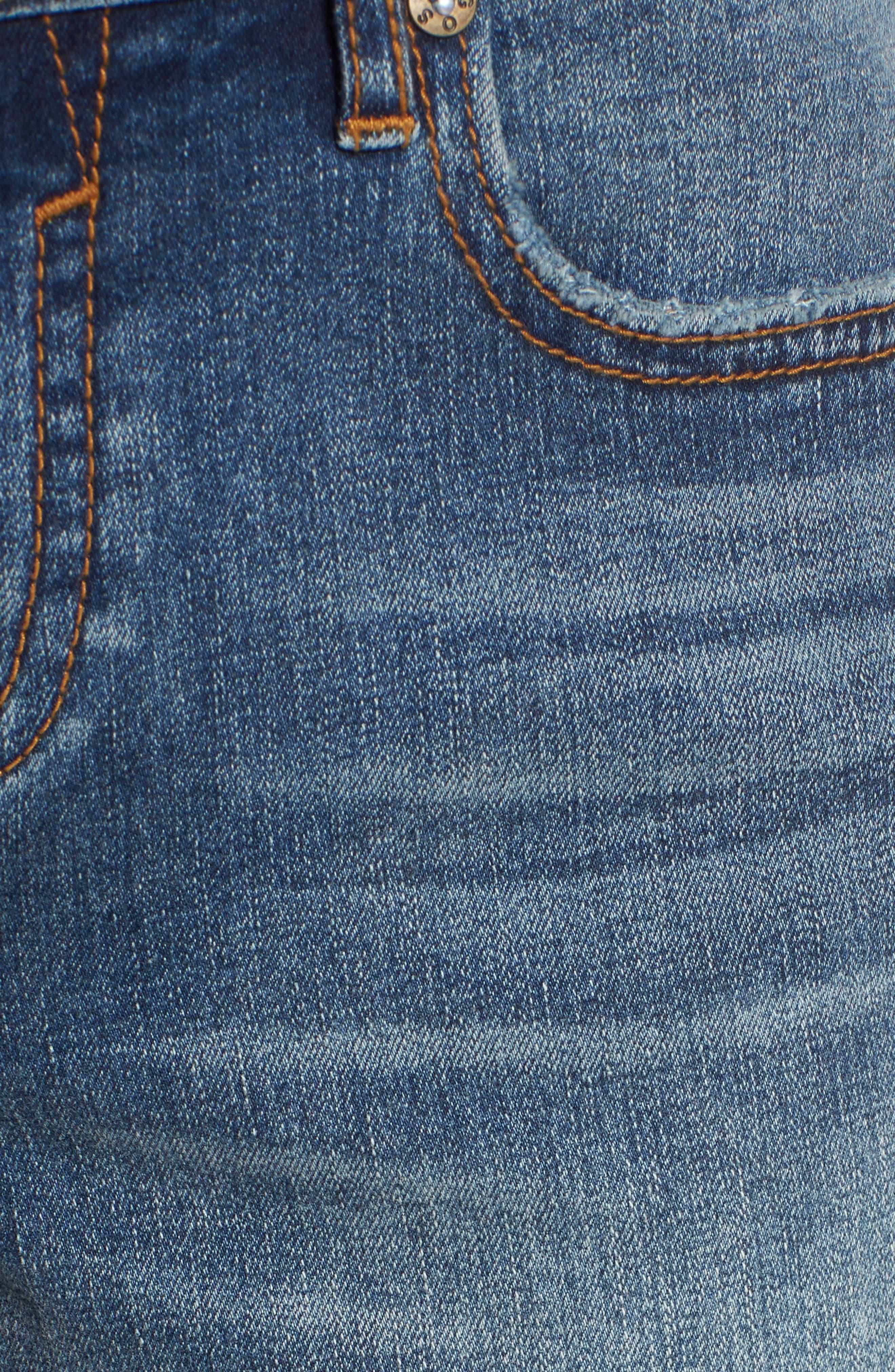Distressed Denim Bermuda Shorts,                             Alternate thumbnail 5, color,