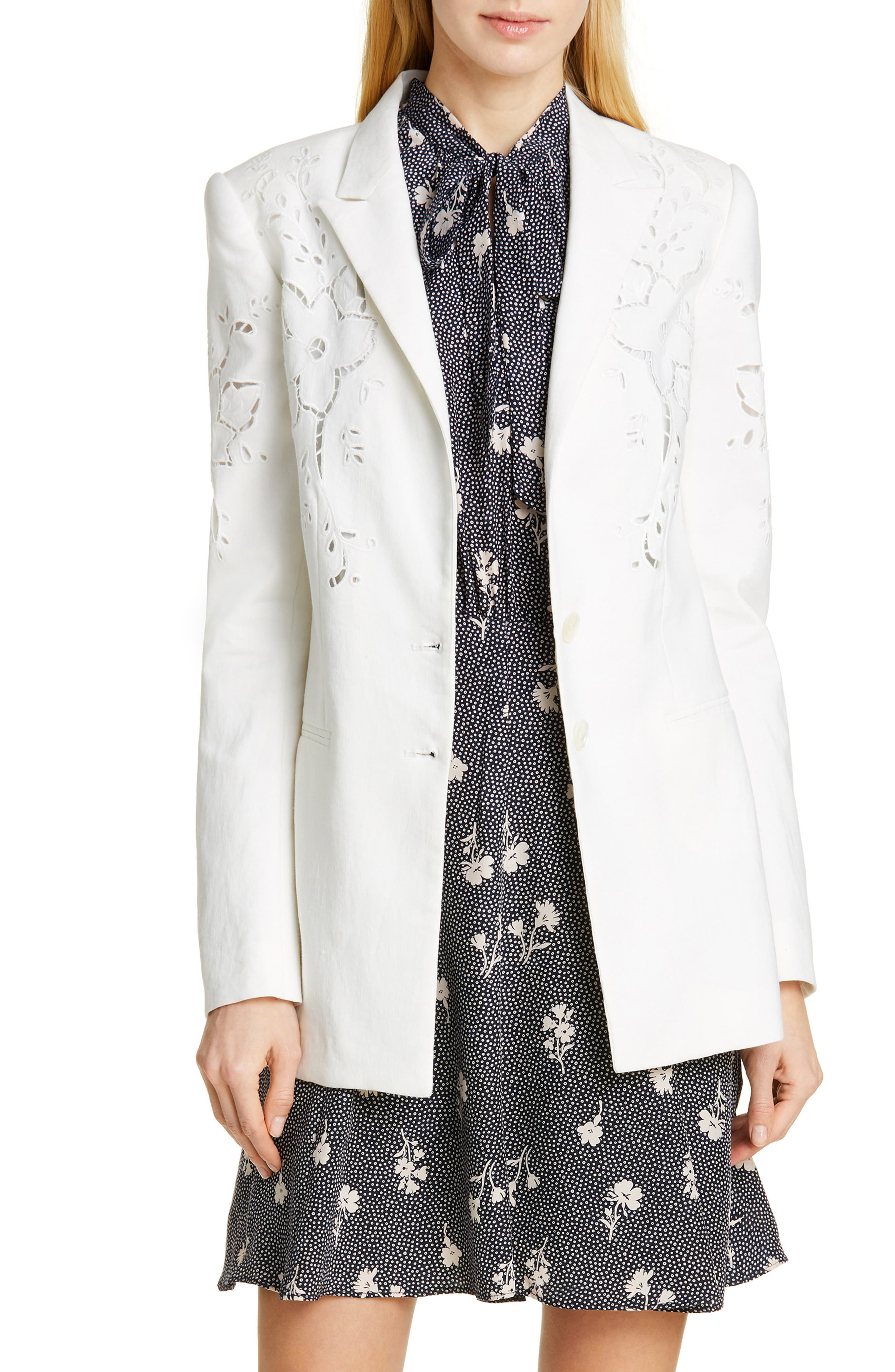 TAILORED BY REBECCA TAYLOR,                             Eyelet Embroidery Linen Blend Blazer,                             Main thumbnail 1, color,                             SNOW