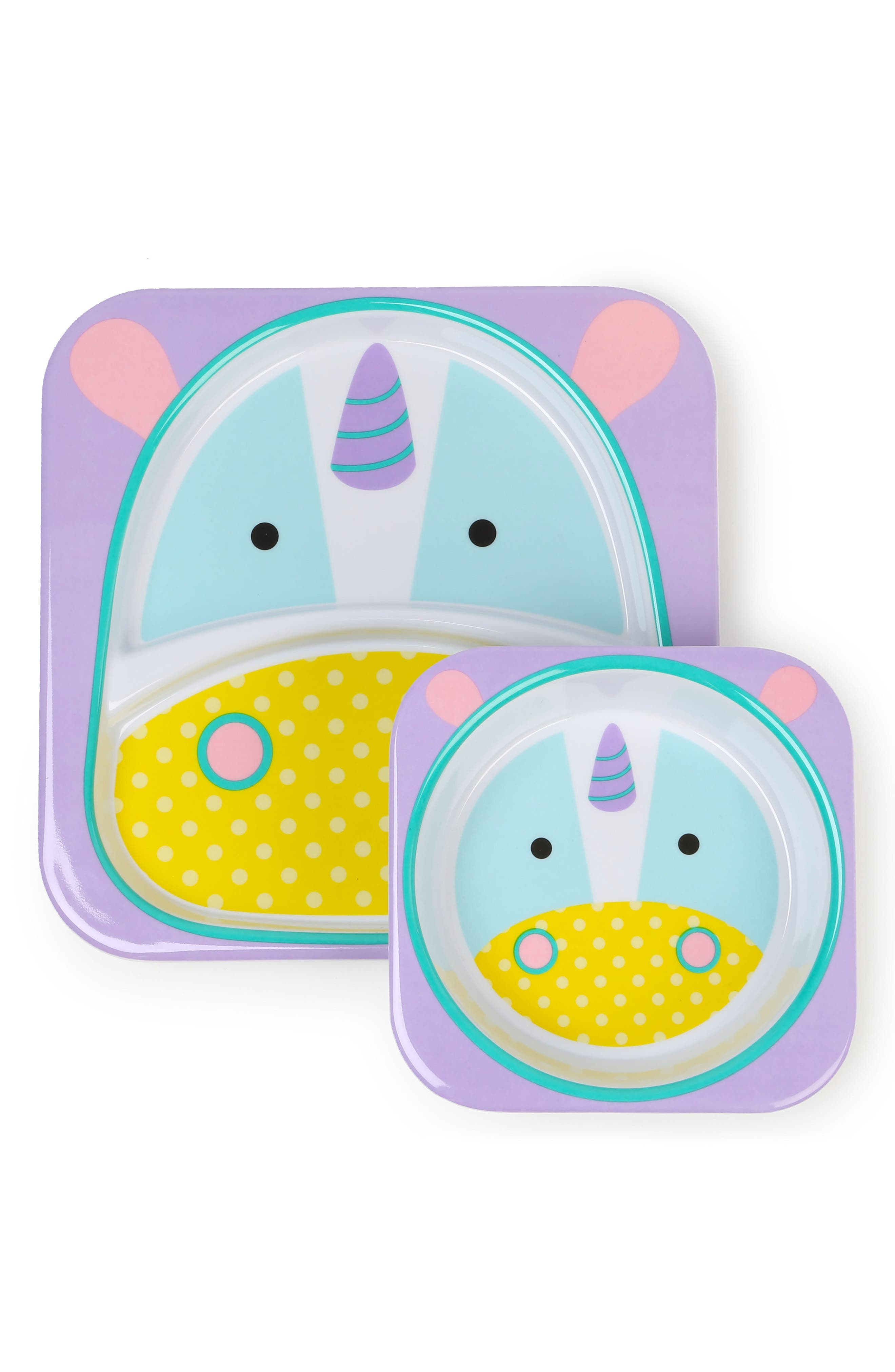 Butterfly Zoo Melamine Plate & Bowl Set, Main, color, 402