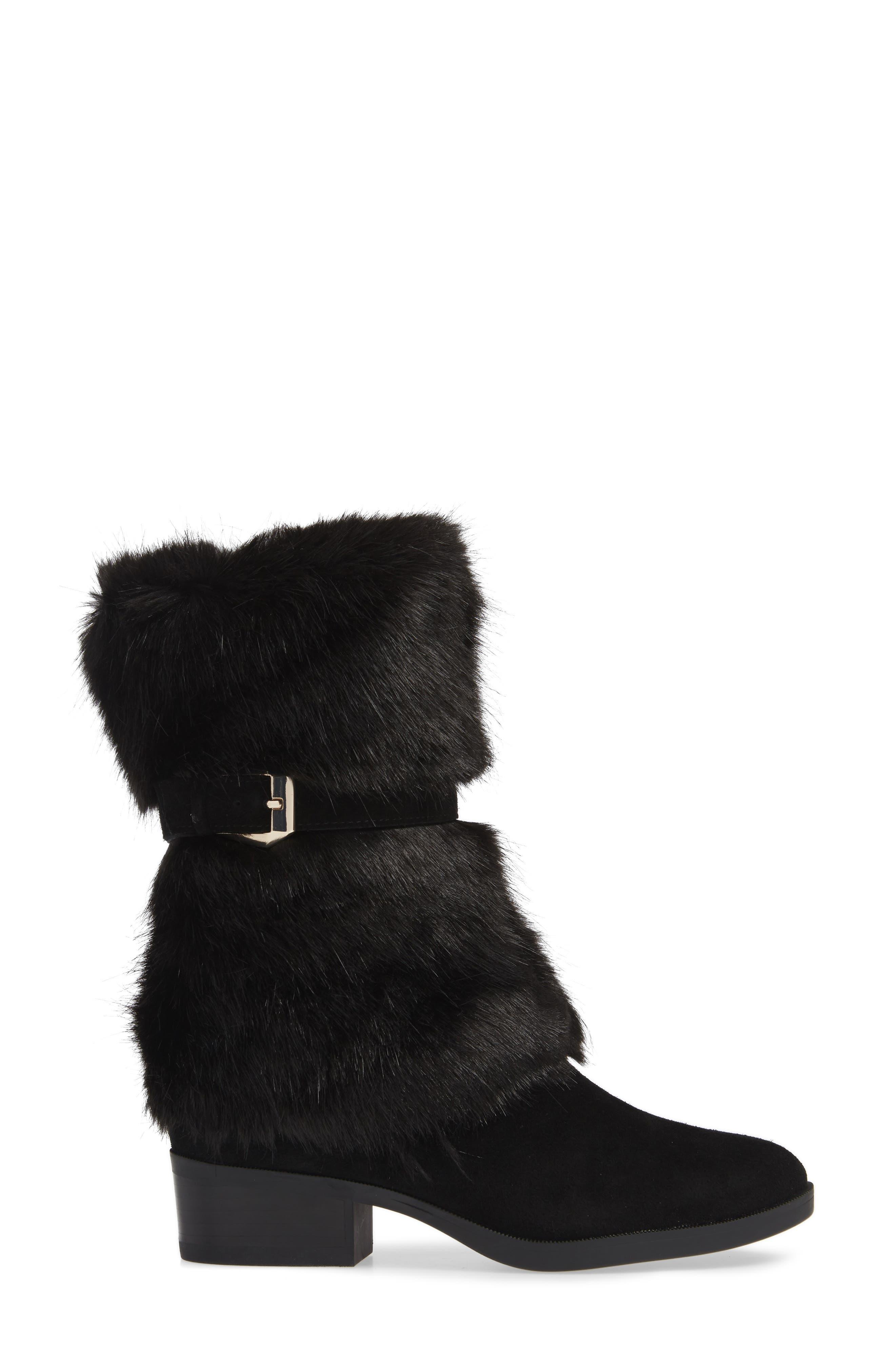 Giselle Water Resistant Faux Fur Boot,                             Alternate thumbnail 3, color,                             BLACK SUEDE