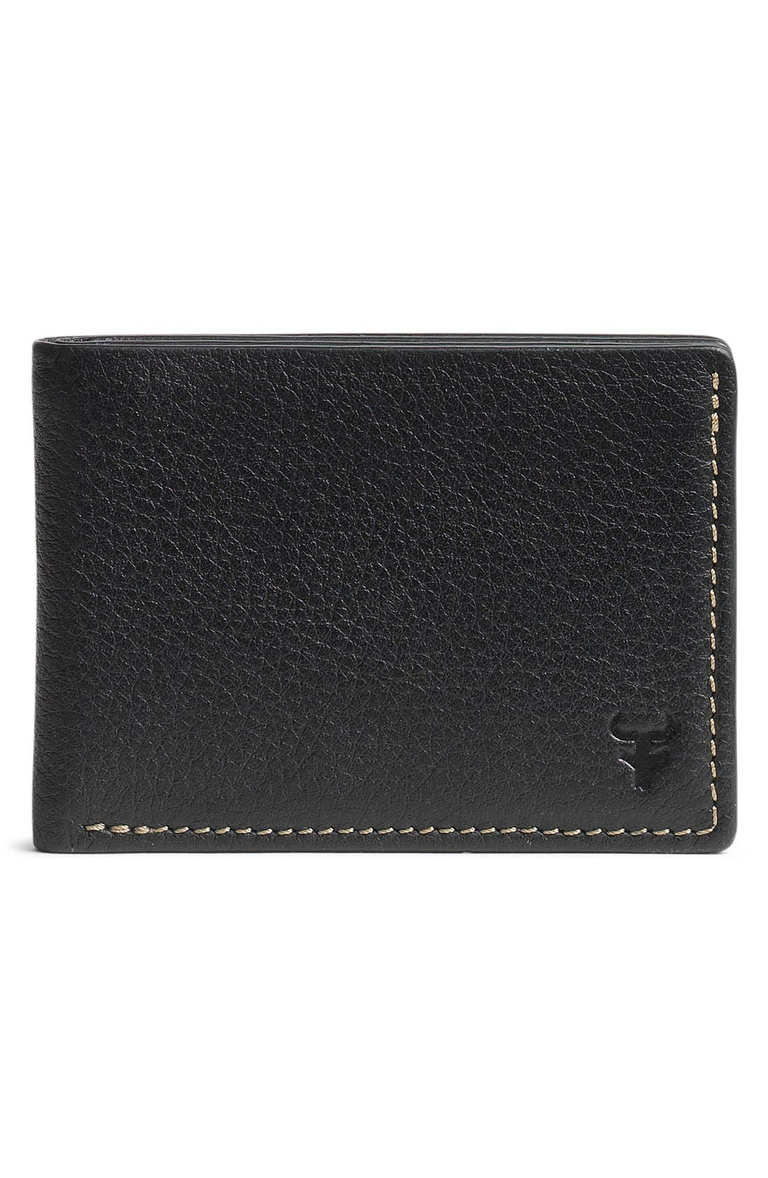 'Jackson' Super Slim Leather Wallet,                             Main thumbnail 1, color,                             BLACK