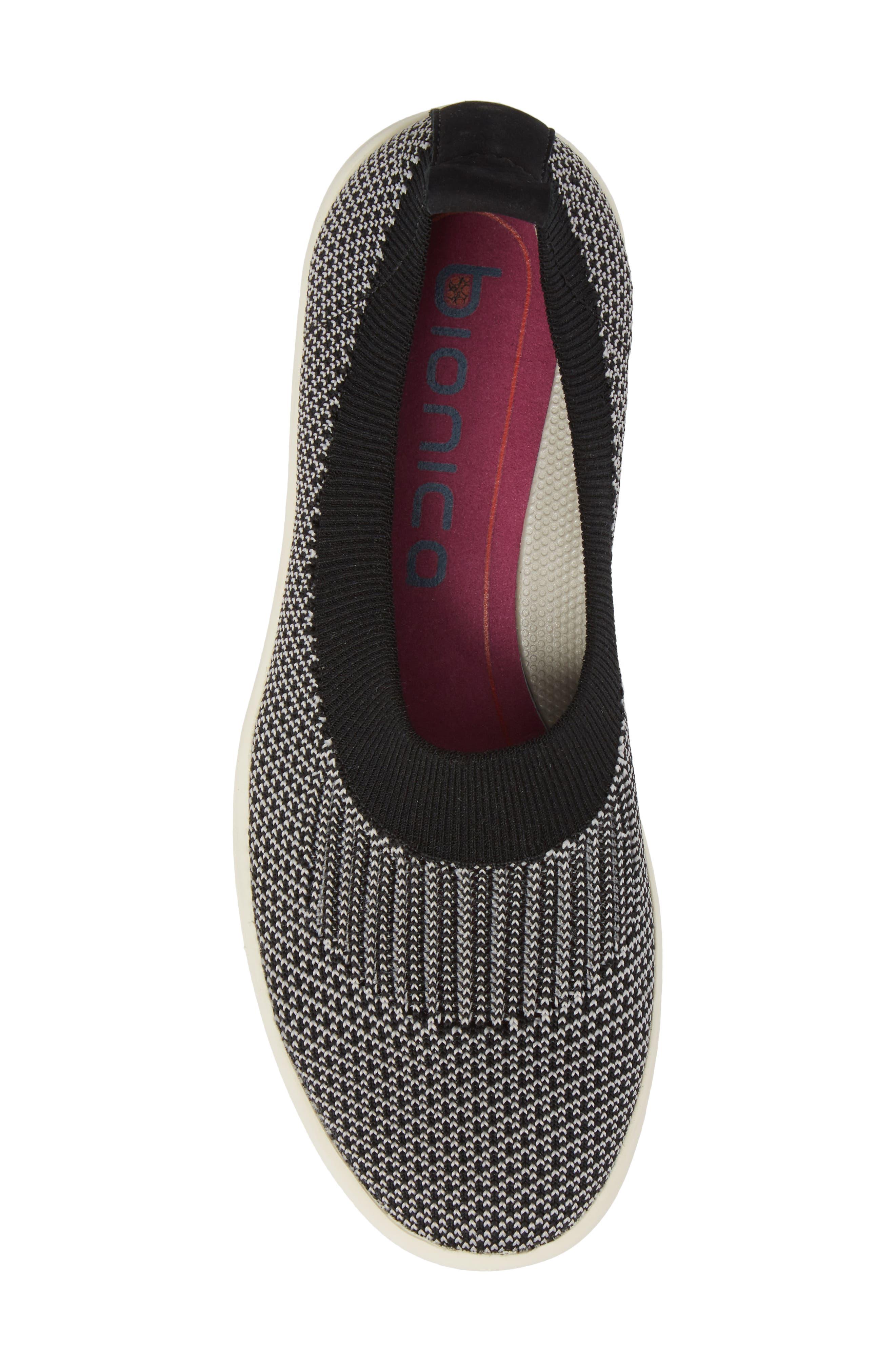 Merigold Slip-On Sock Fit Sneaker,                             Alternate thumbnail 5, color,                             BLACK/ MIST GREY FABRIC