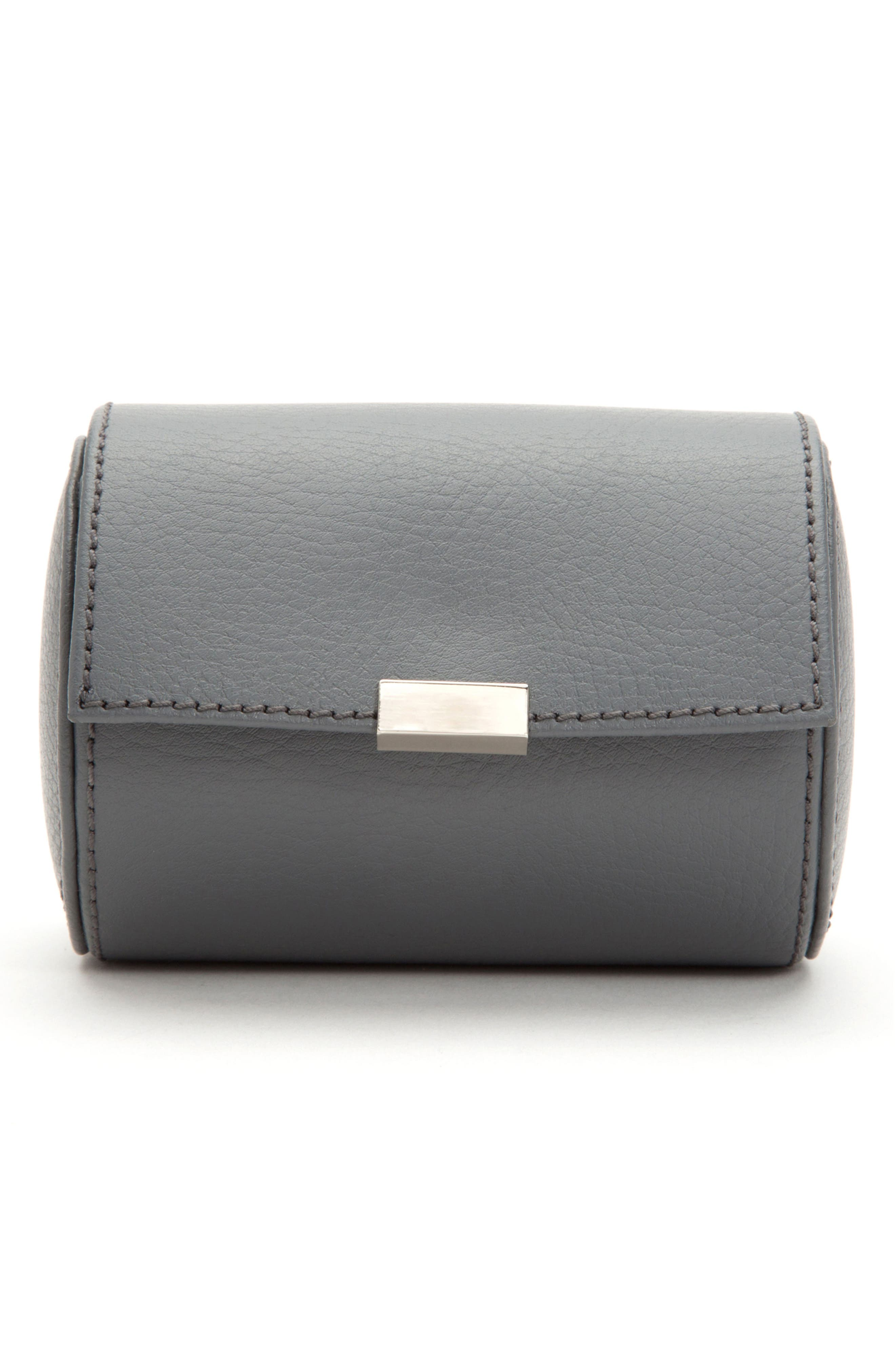 Howard Leather Watch Roll Case,                         Main,                         color, GREY