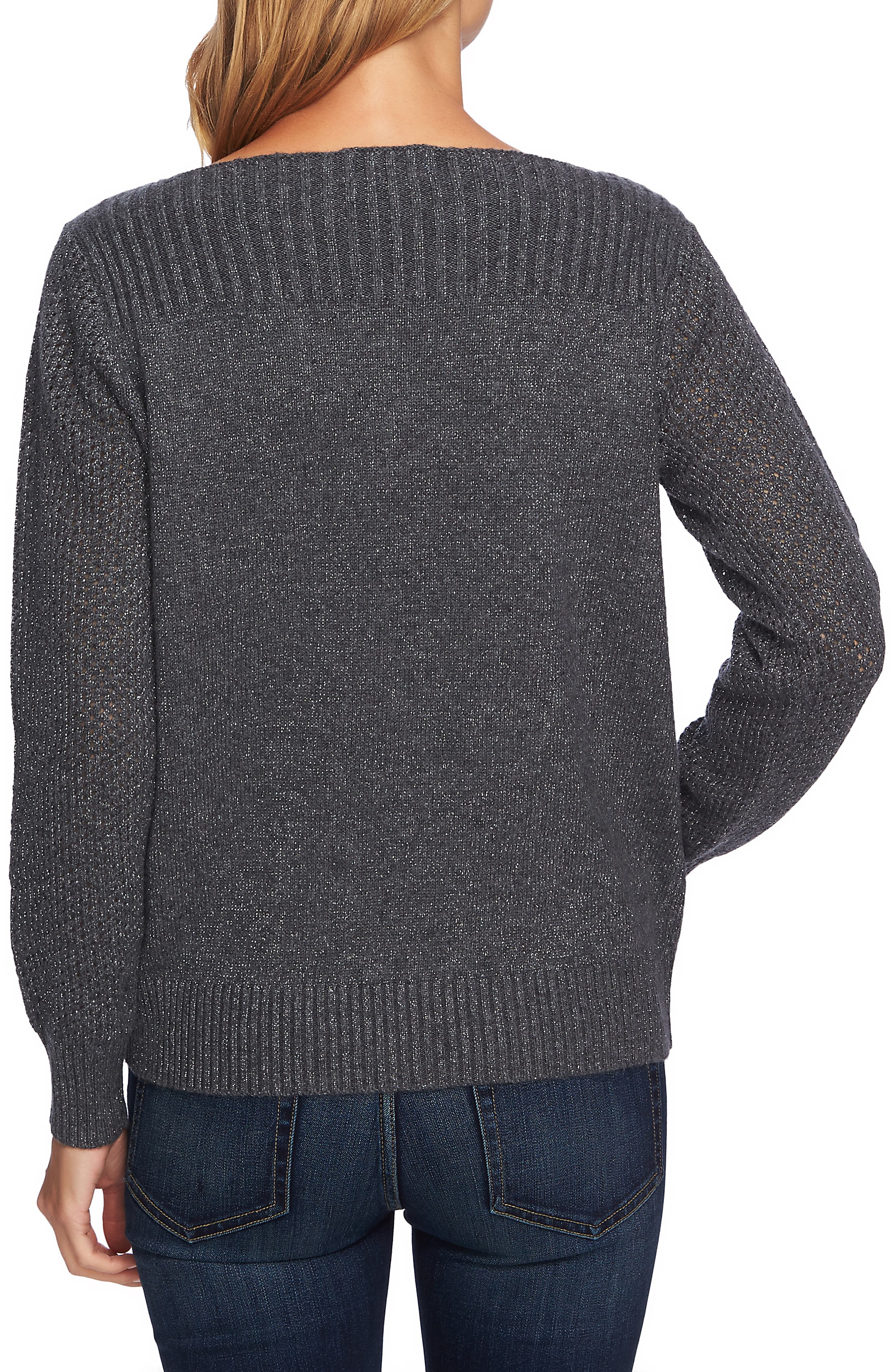 Metallic Knit Sweater,                             Alternate thumbnail 2, color,                             MED HEATHER GREY