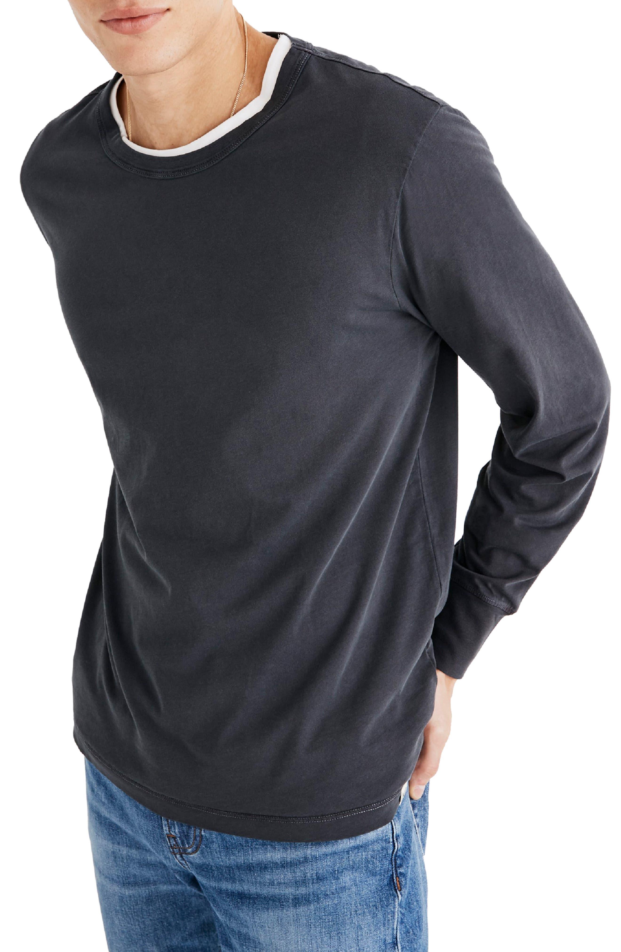 Long Sleeve Slim T-Shirt,                         Main,                         color, CLASSIC BLACK
