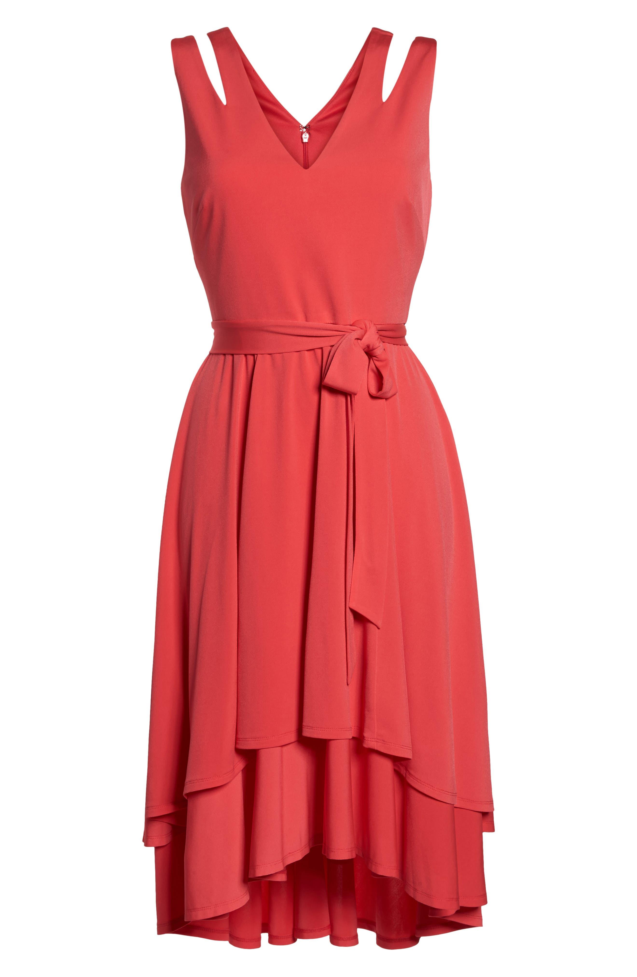 Split Shoulder High/Low Dress,                             Alternate thumbnail 7, color,                             660