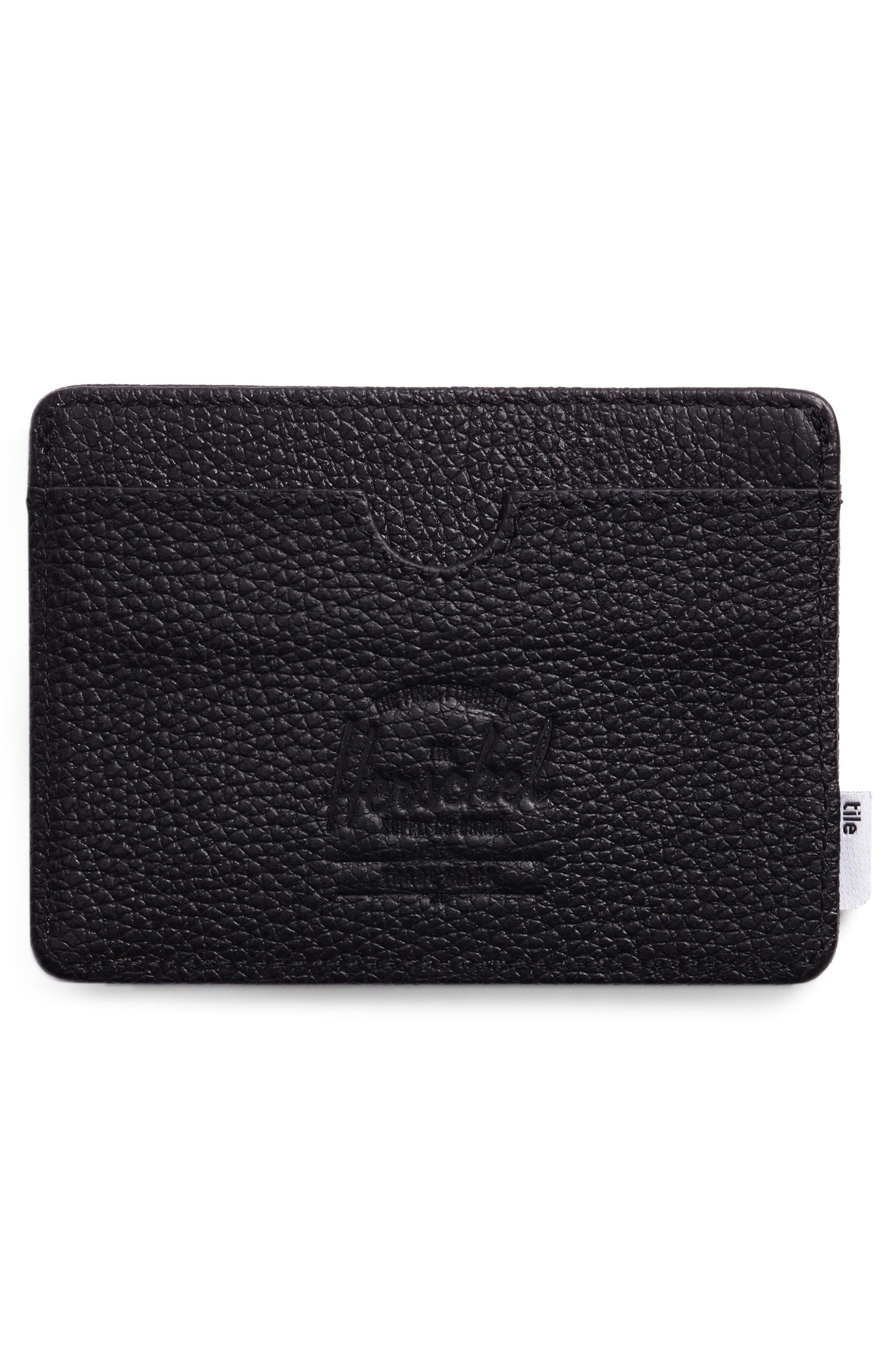 Tile Slim Charlie Leather Card Case,                             Alternate thumbnail 3, color,                             BLACK PEBBLED LEATHER
