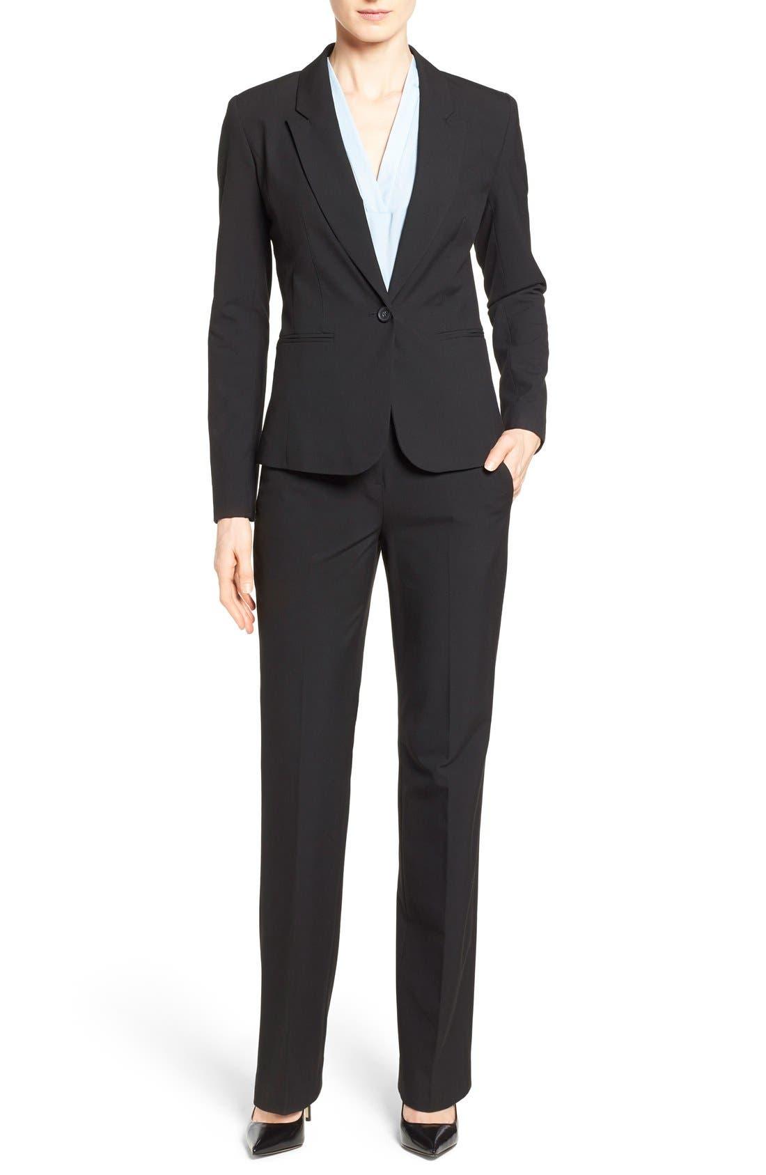 One-Button Stretch Suit Jacket,                             Alternate thumbnail 5, color,                             001