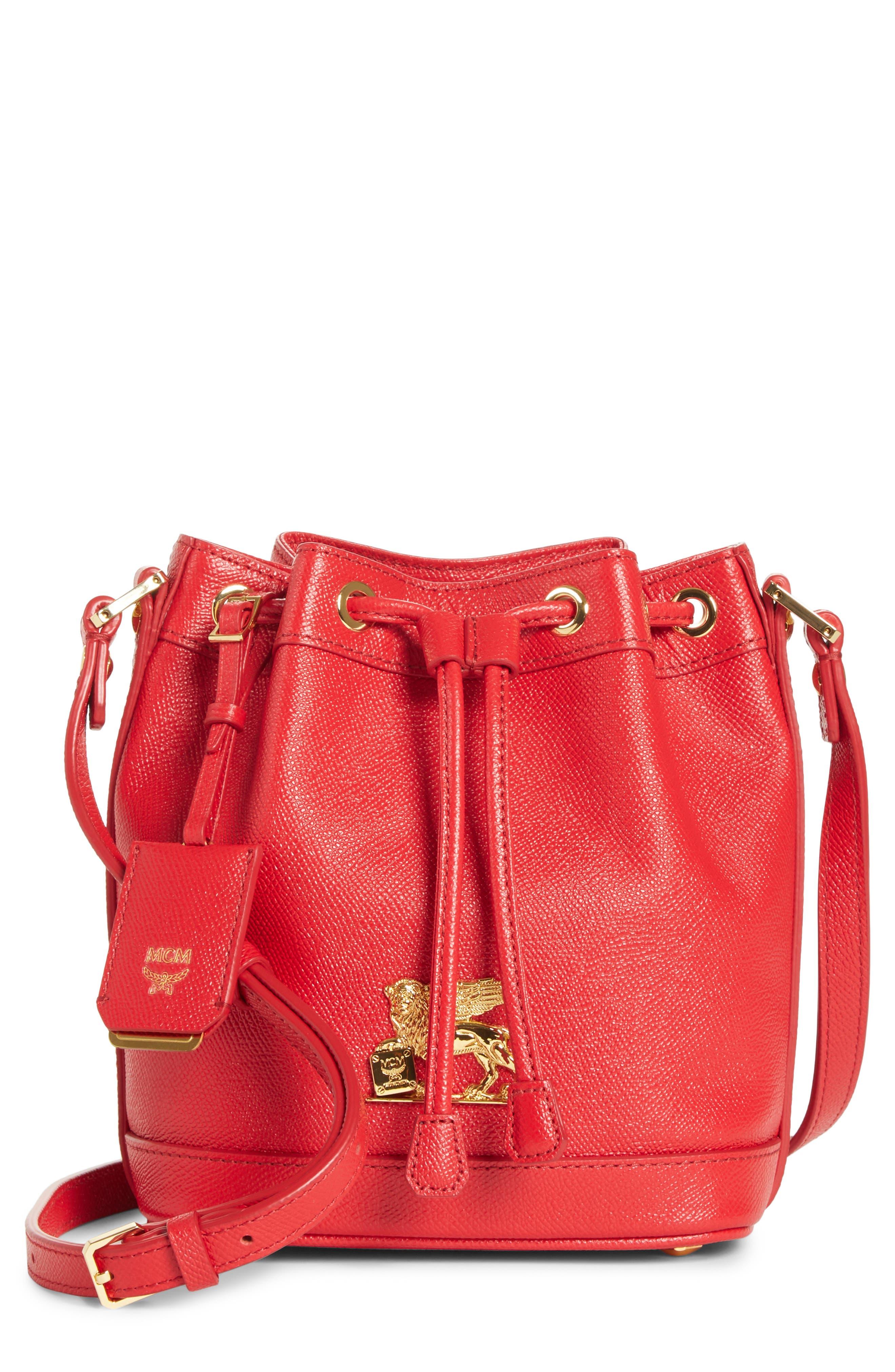 Mini RGB Drawstring Crossbody Bag,                             Main thumbnail 1, color,                             RED