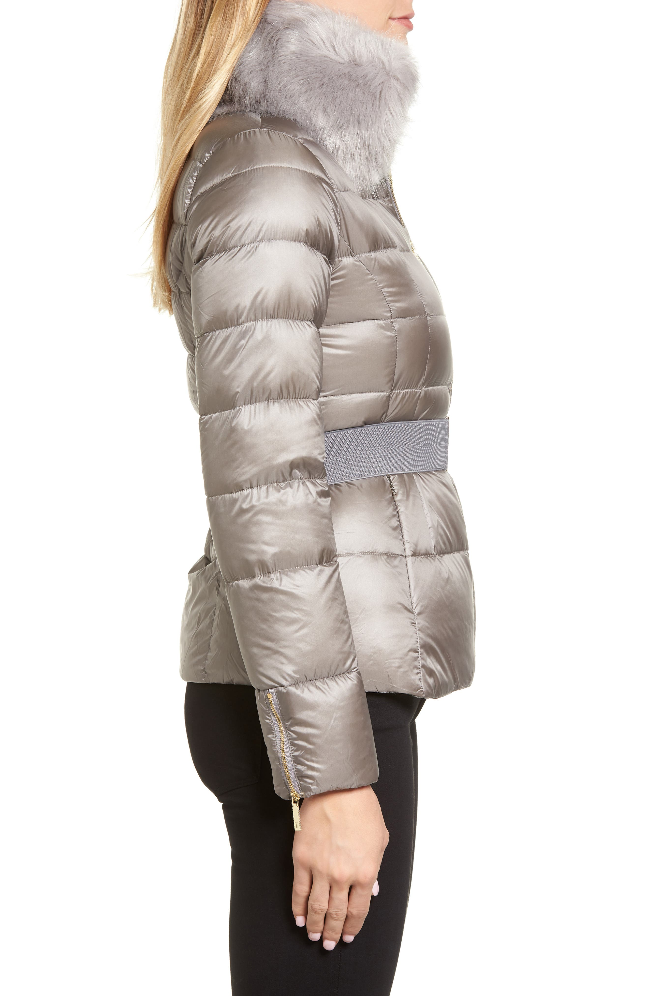 Puffer Jacket with Faux Fur Collar,                             Alternate thumbnail 3, color,                             050