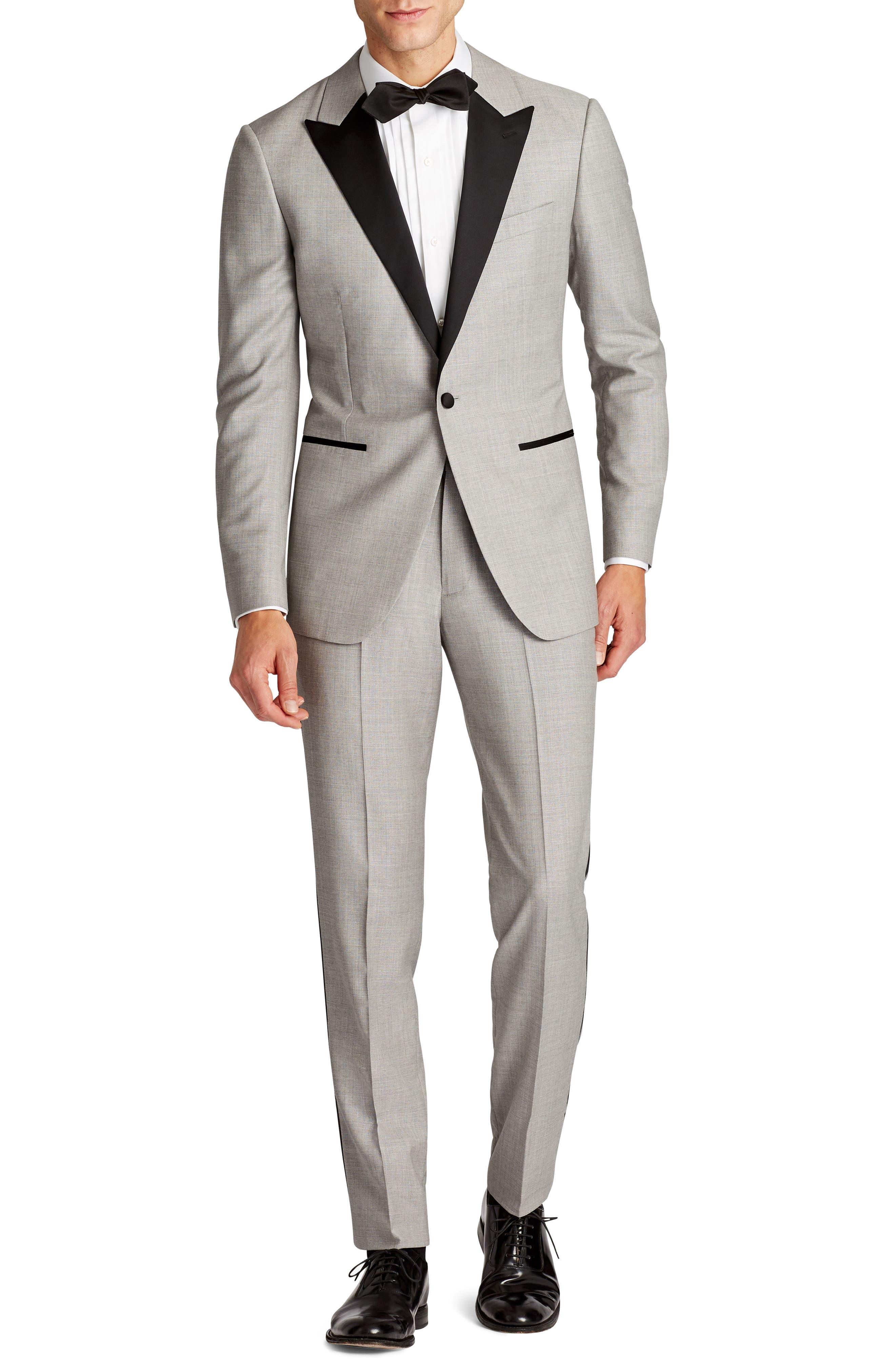 Capstone Flat Front Tuxedo Trousers,                             Alternate thumbnail 4, color,                             020