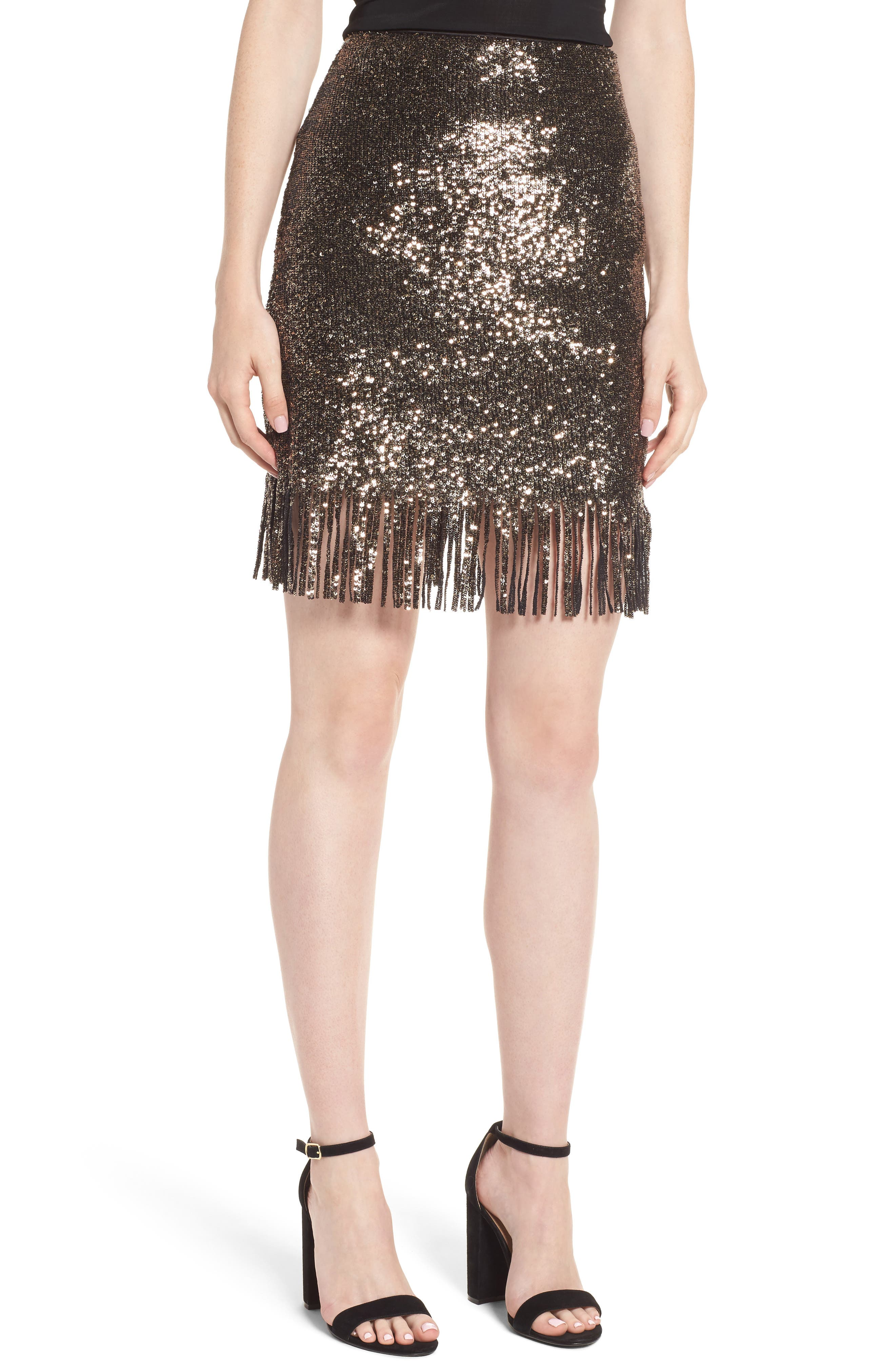 BARDOT,                             Sequin Fringe Skirt,                             Main thumbnail 1, color,                             710