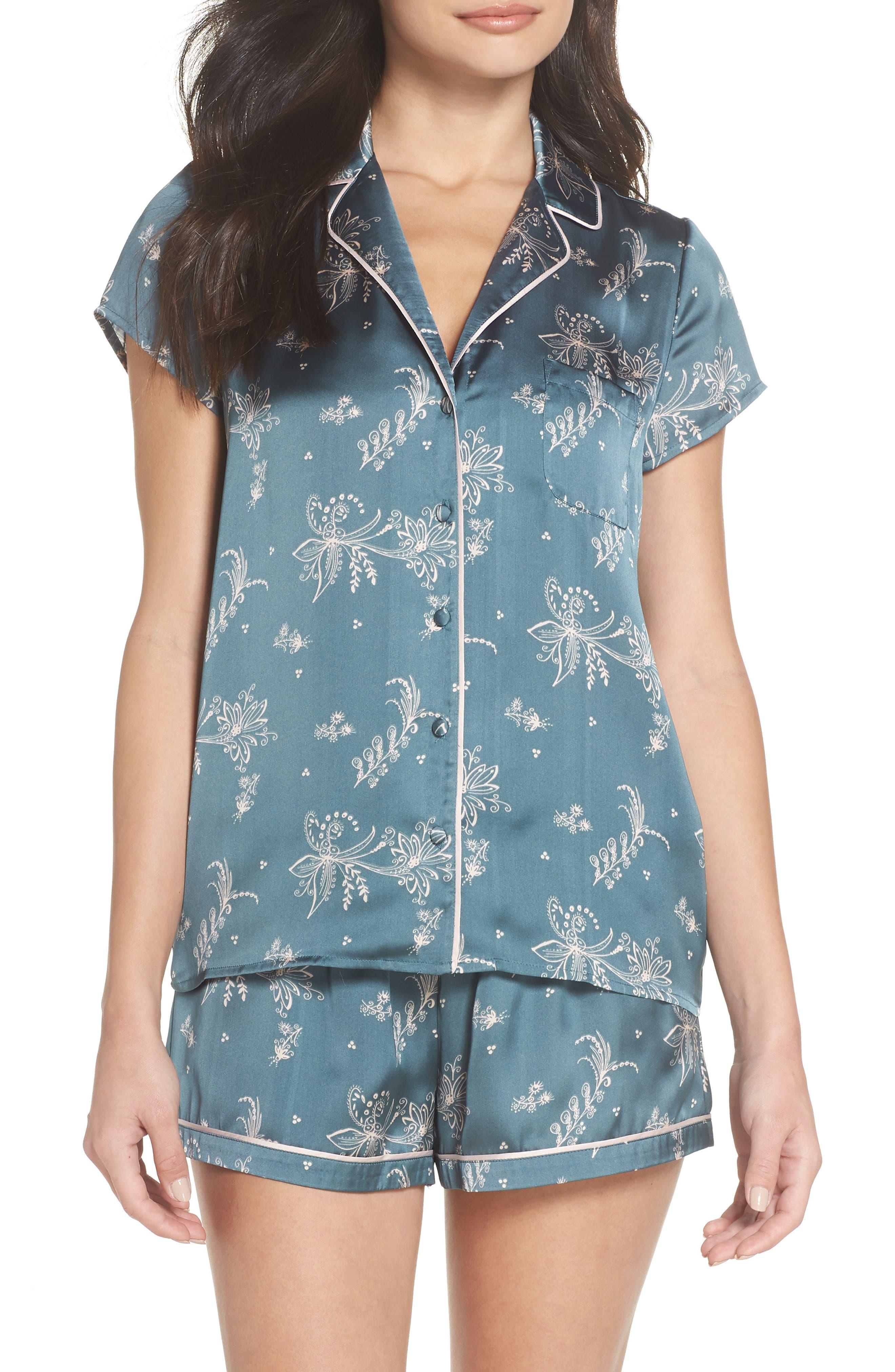 Satin Pajamas,                         Main,                         color, BLUE GOBLIN FLIRTY FLORAL