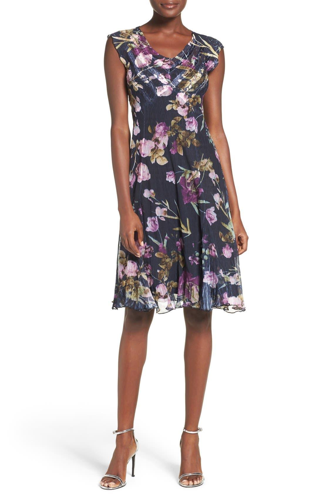 Floral Print Chiffon A-Line Dress,                             Alternate thumbnail 3, color,                             009