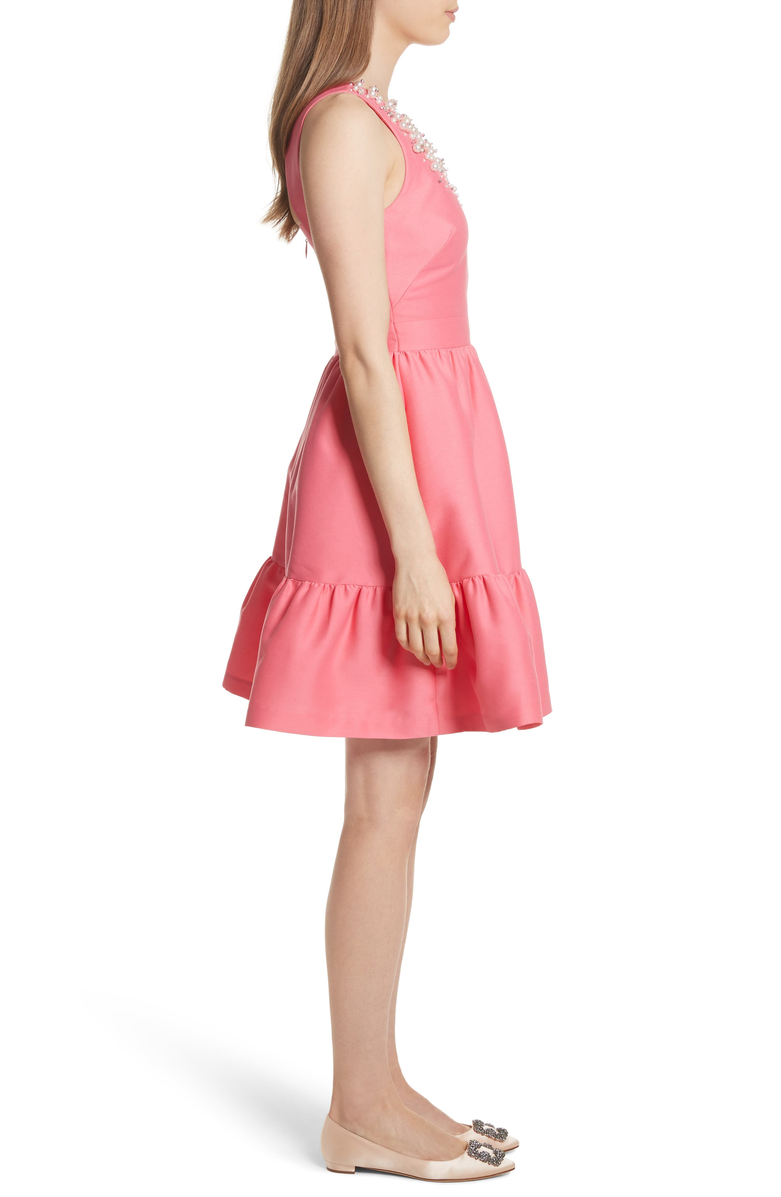 embellished mikado fit-and-flare dress,                             Alternate thumbnail 3, color,                             682