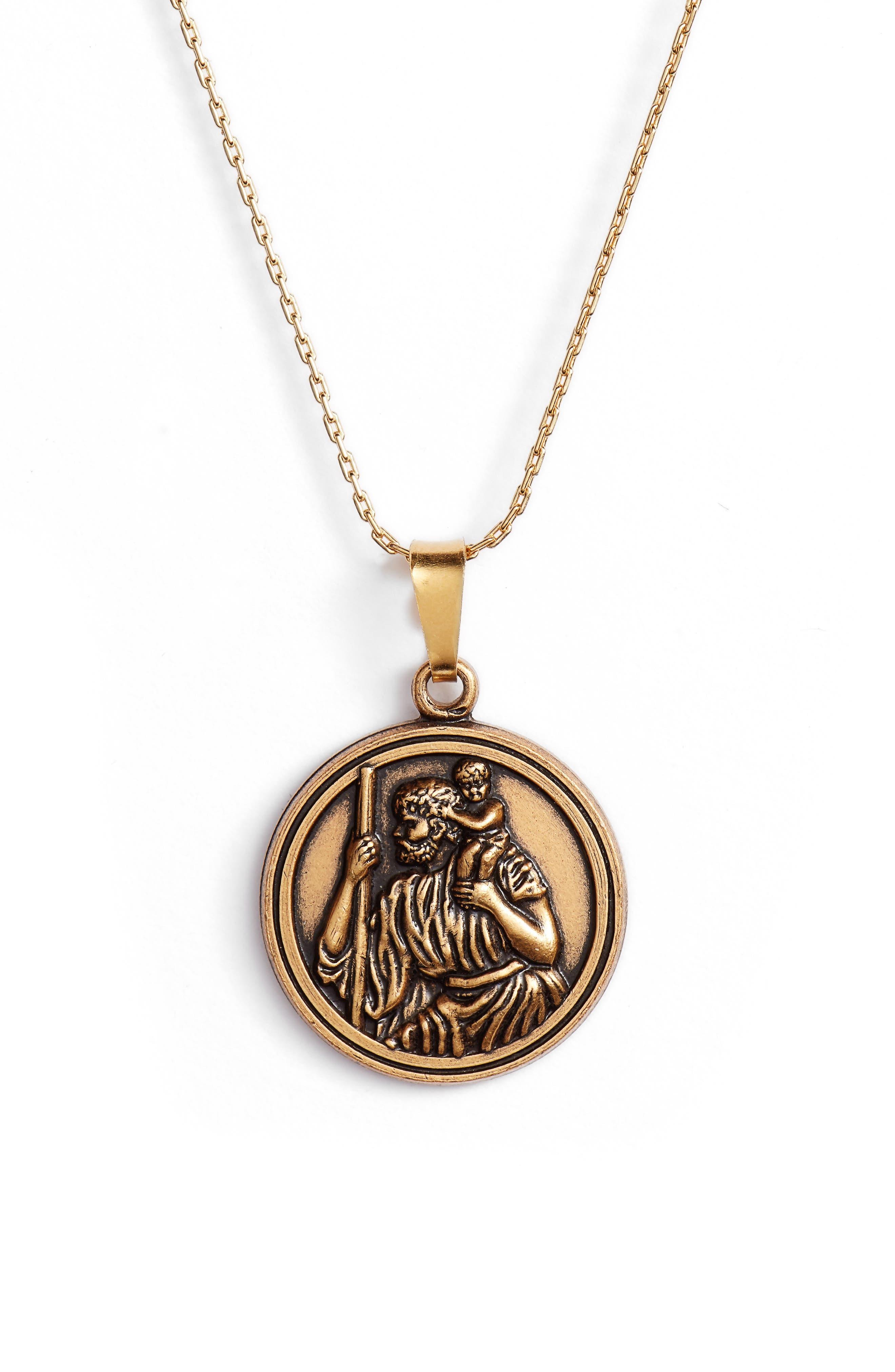 Saint Christopher Pendant Necklace,                             Main thumbnail 1, color,                             GOLD